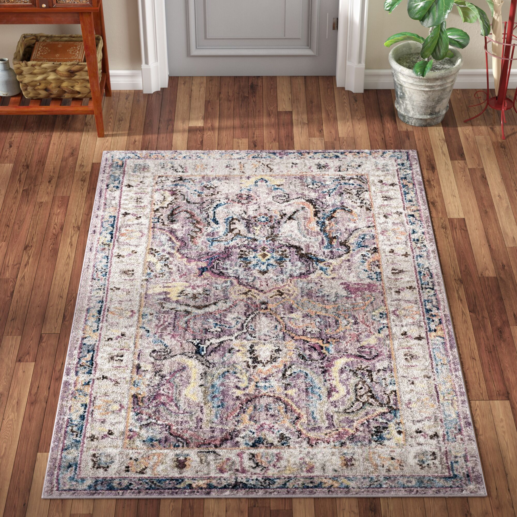 Fitz Lavender/Light Gray Area Rug Rug Size: Rectangle 9' x 12'
