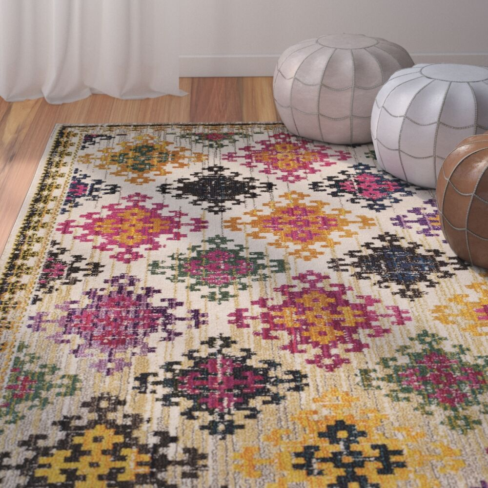 Chana Yellow/Pink Area Rug Rug Size: Rectangle 6'7