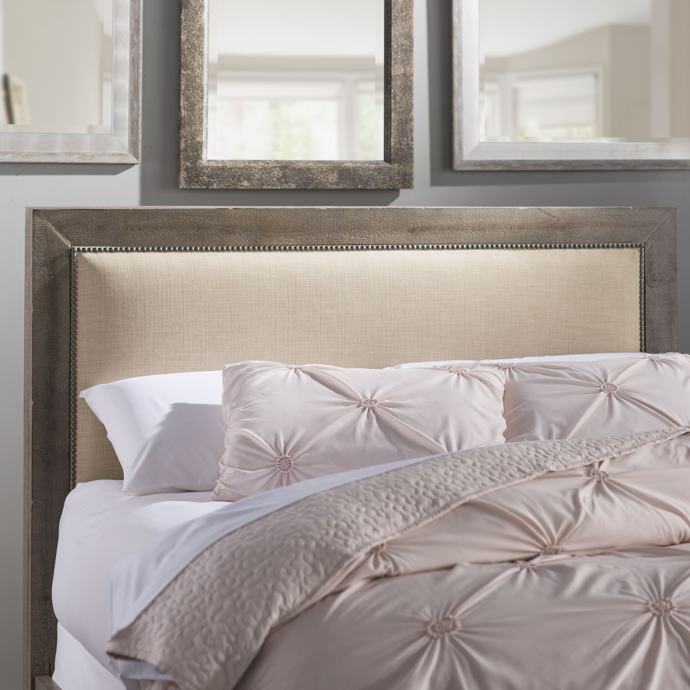 Castagnier Upholstered Panel headboard Size: Queen, Color: Weathered Grey