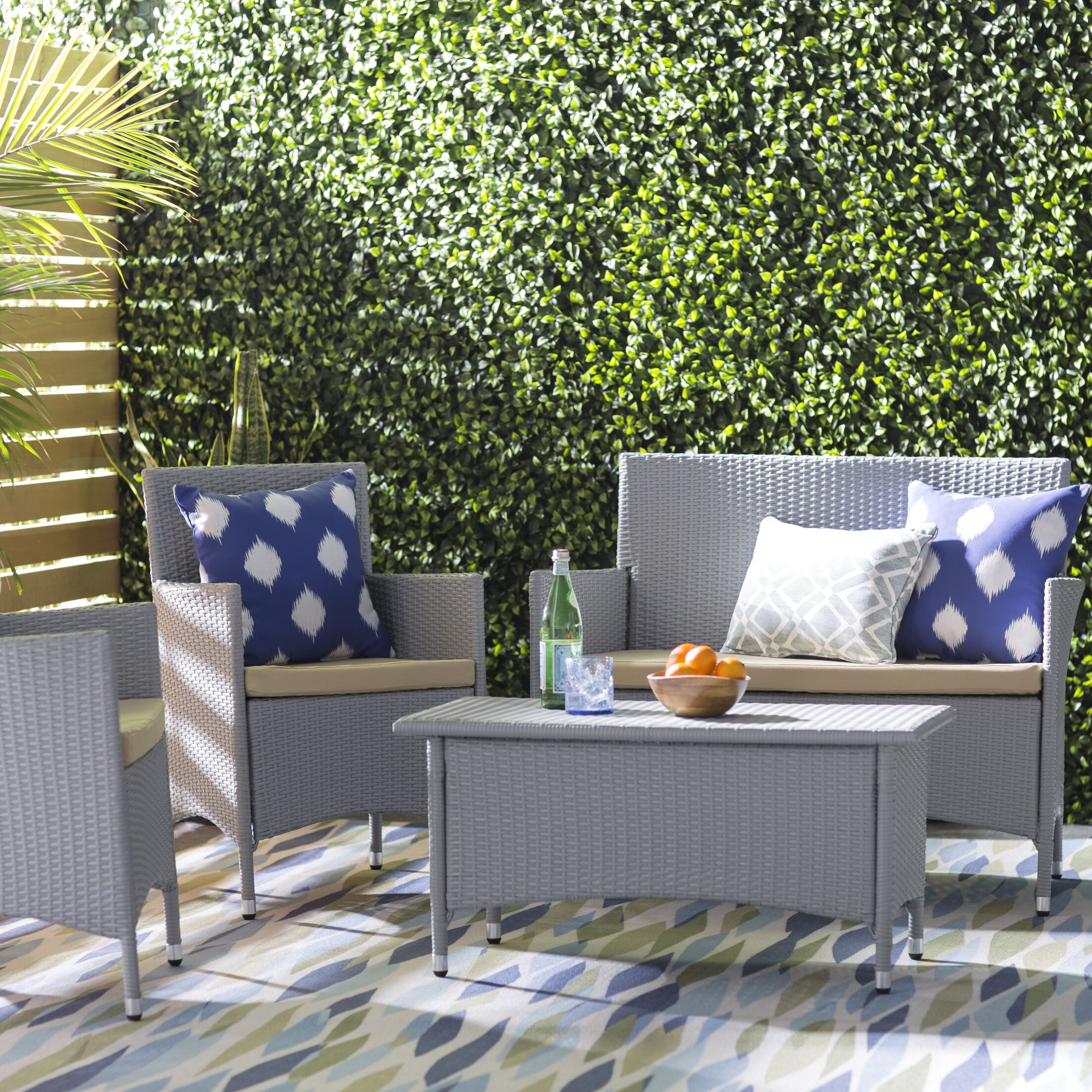 Hogarth 4 Piece Deep Seating Group with Cushion Color: Aluminum with Grey/Beige Cushions