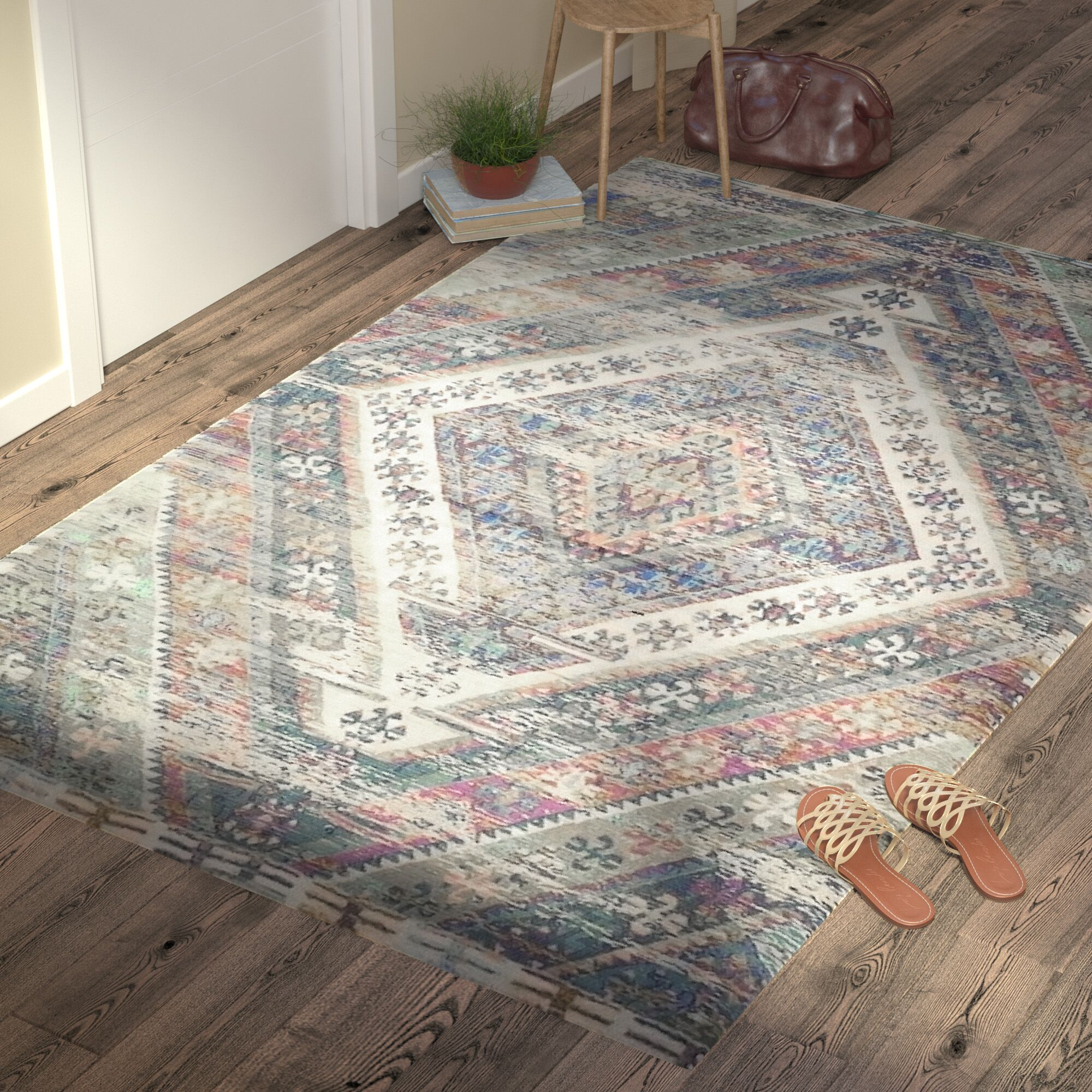 Amanda Hand-Loomed Royal Blue/Fuchsia Area Rug Rug Size: Runner 2'3