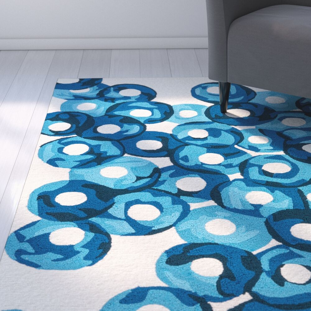 Elvira Ivory/Blue Indoor/Outdoor Area Rug Rug Size: Rectangle 9' x 12'