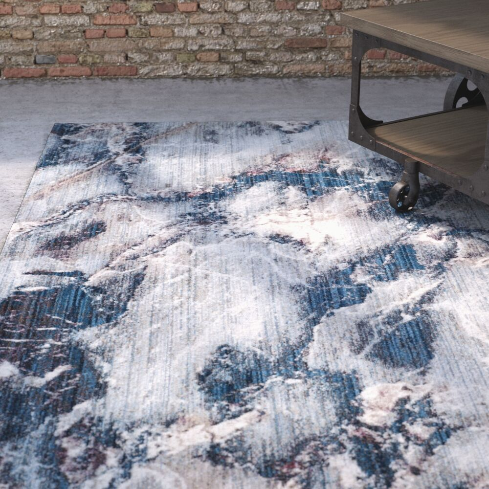 Foresta Blue/Ivory Area Rug Rug Size: Square 7'