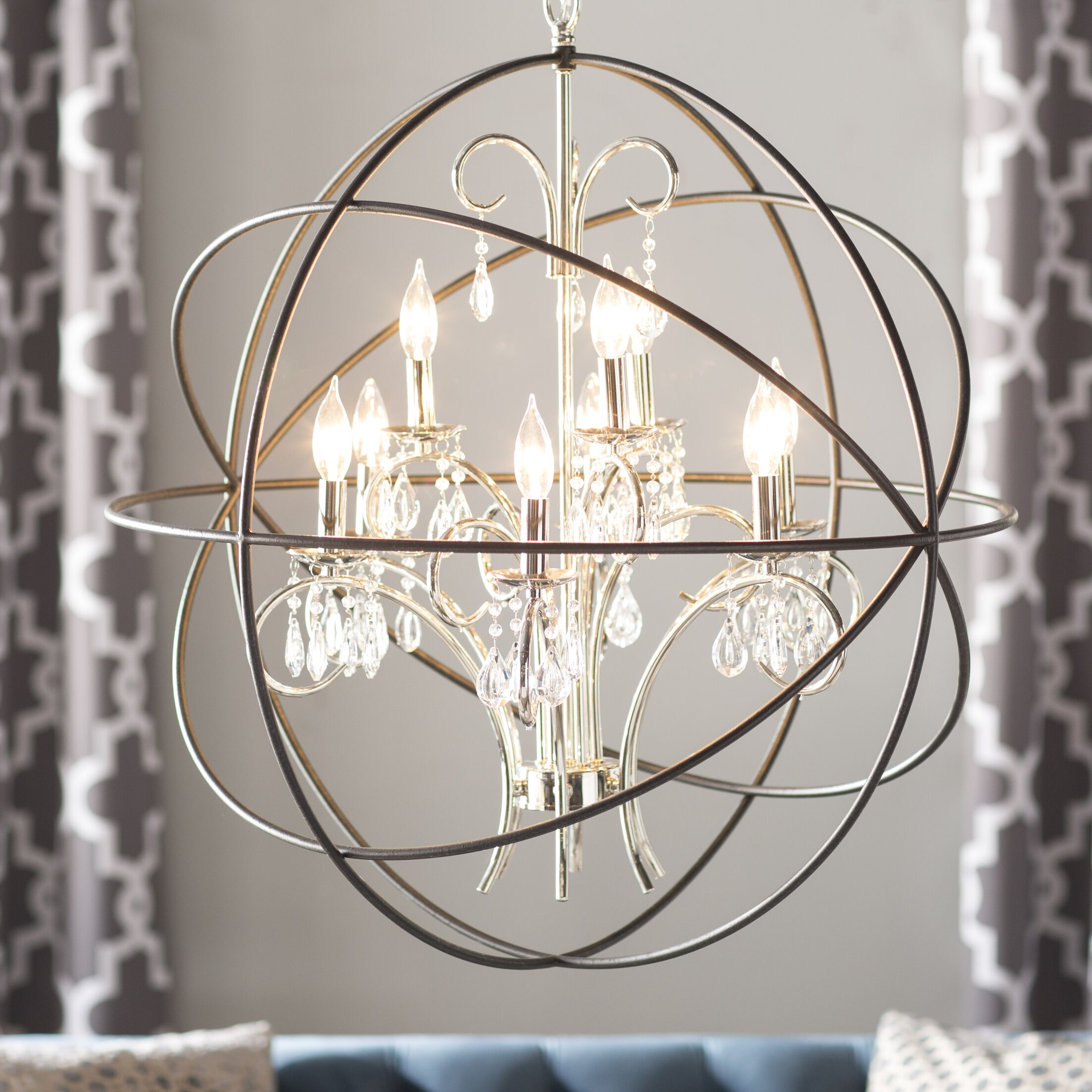 Joaquin 9-Light Candle-Style Chandelier Finish: Anthracite and Polished Nickel