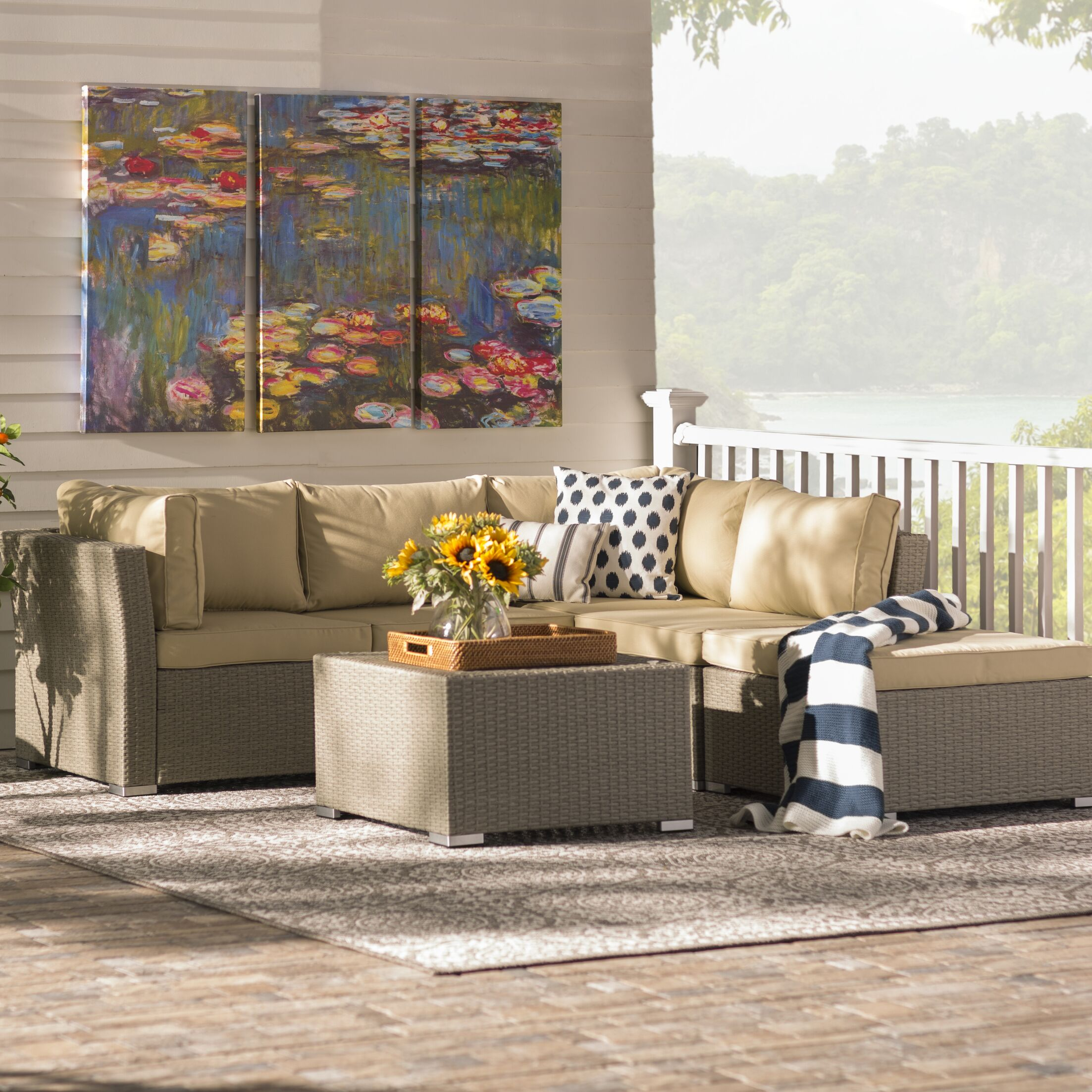 Morrissey 5 Piece Sectional Set with Cushions Color: Natural Rustic Light