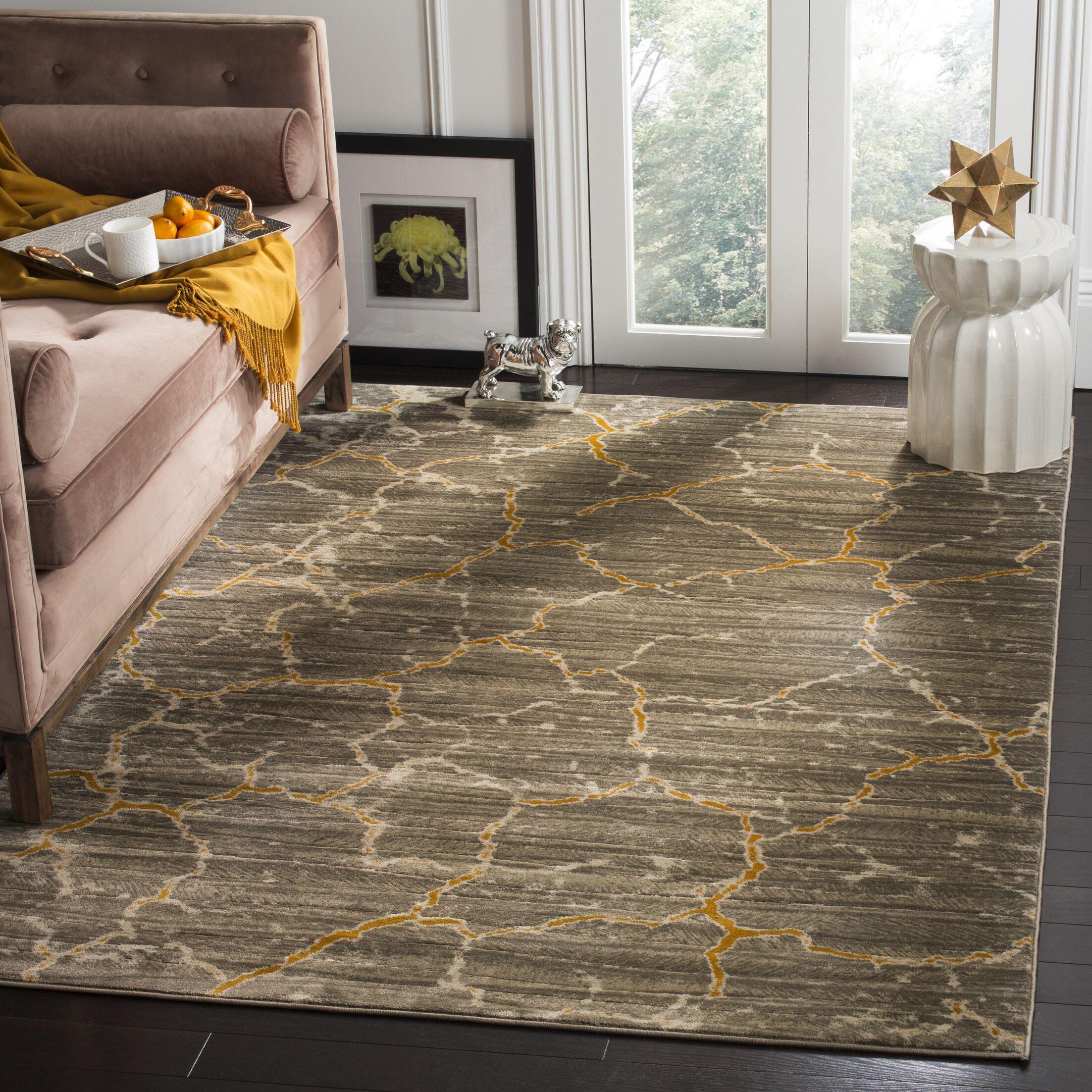 Sorrentino Dark grey/Yellow Area Rug Rug Size: Square 6'7
