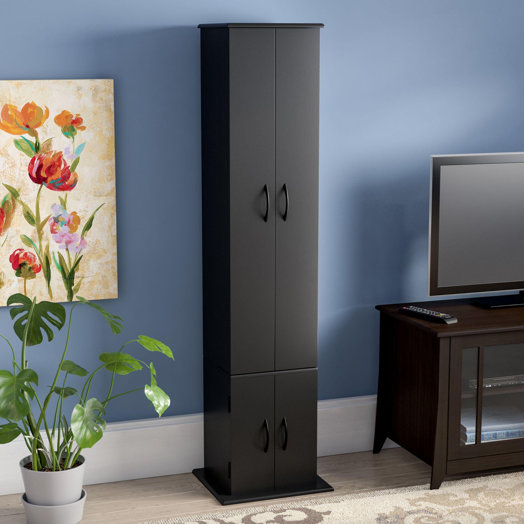 CD / DVD Wood Multimedia Cabinet Color: Black