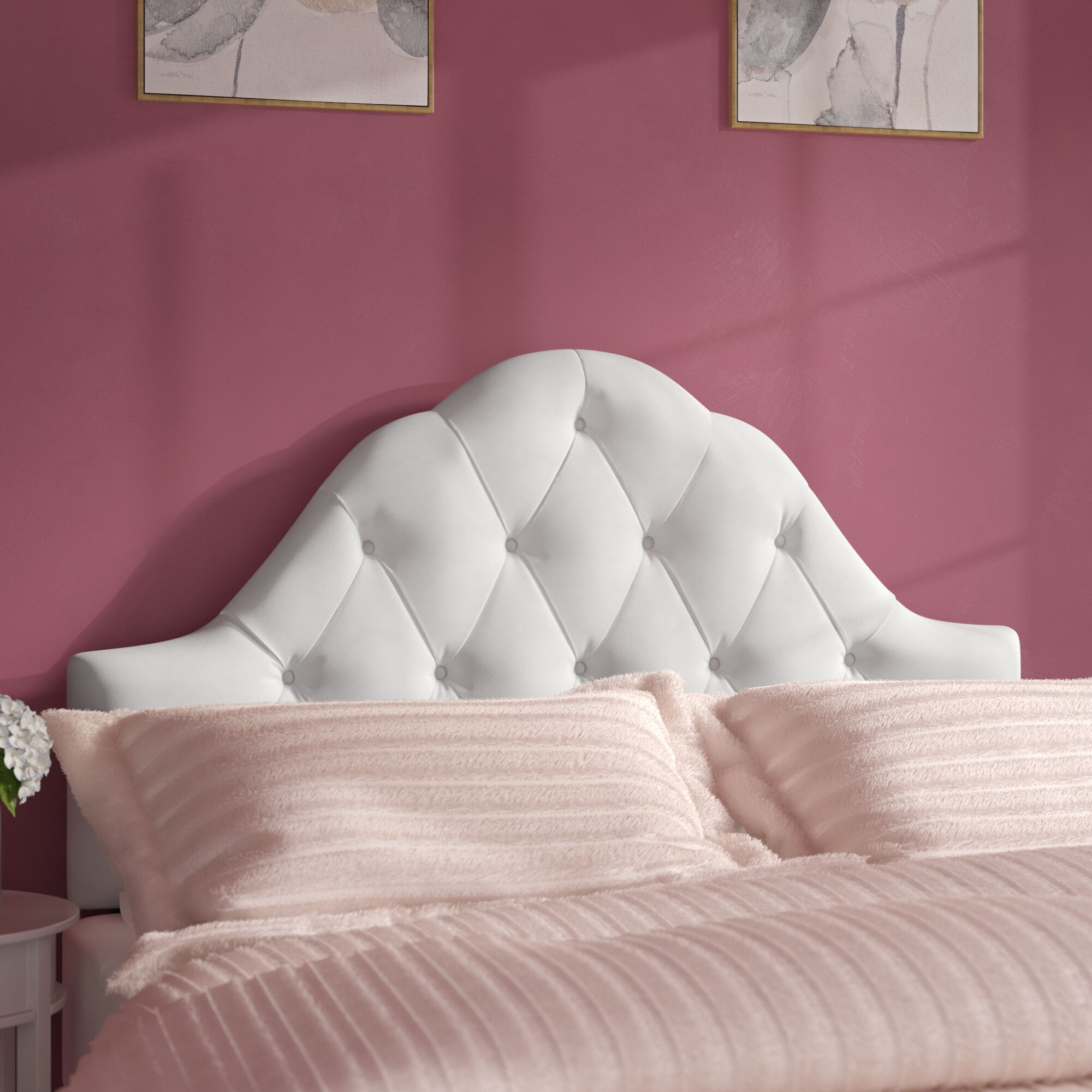Davina Arched Upholstered Panel Headboard Upholstery: White, Size: King