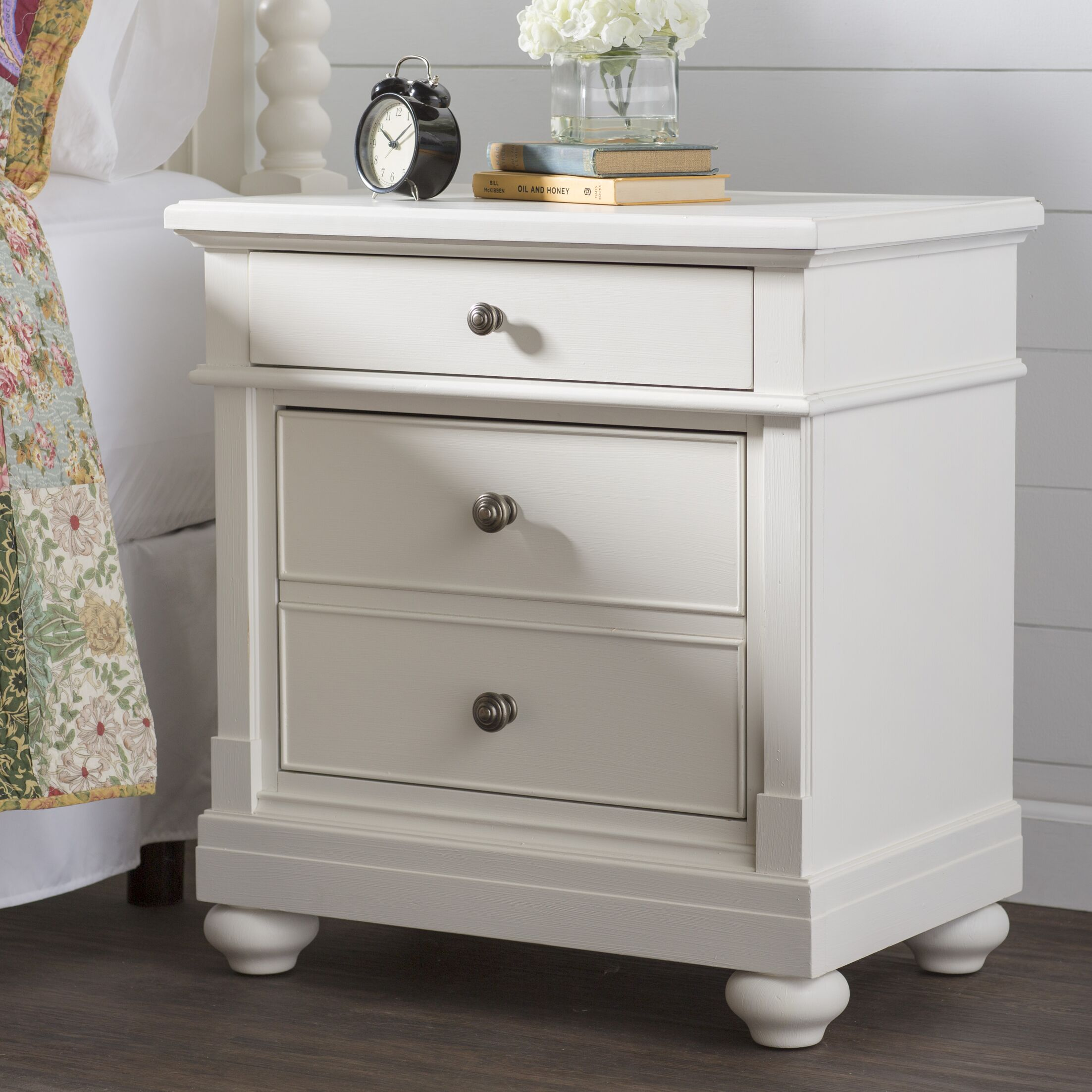 Saguenay 2 Drawer Nightstand Color: Linen
