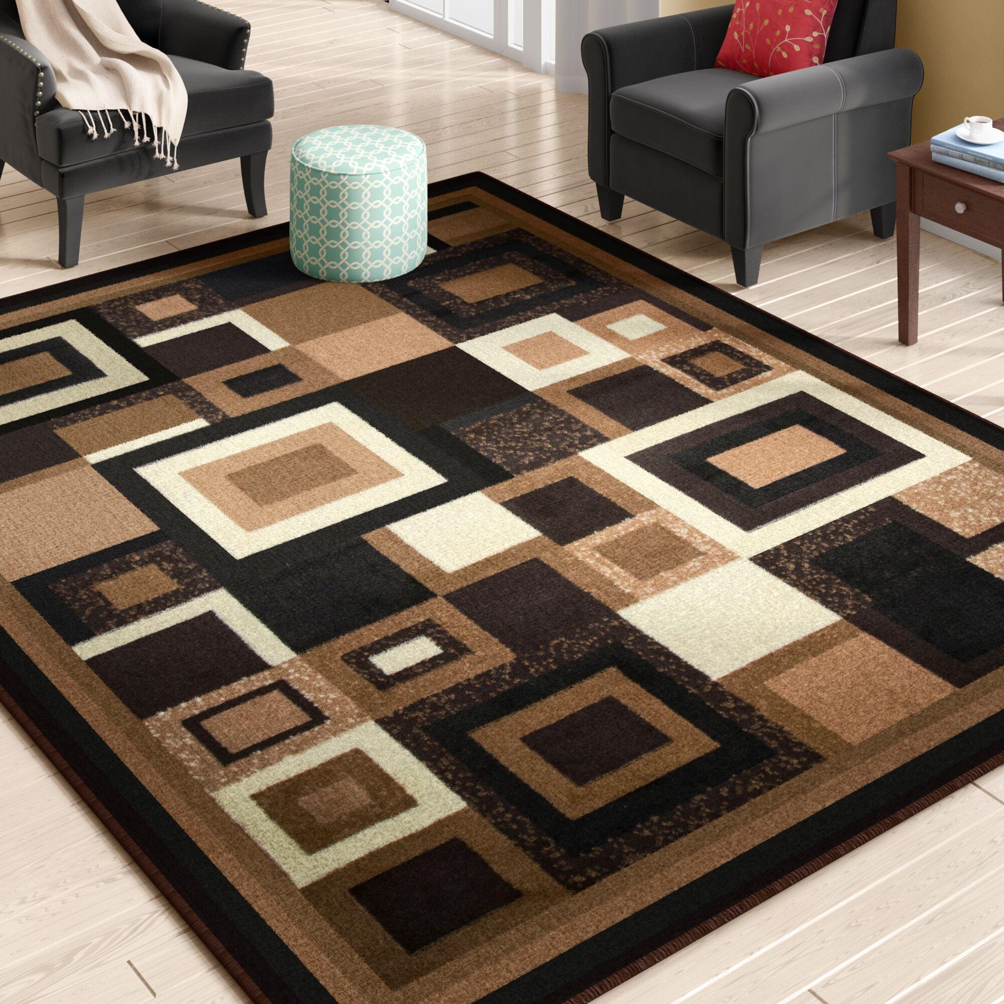 Enedina Quadrilateral Brown/Black/Beige Area Rug Rug Size: 8' x 10'