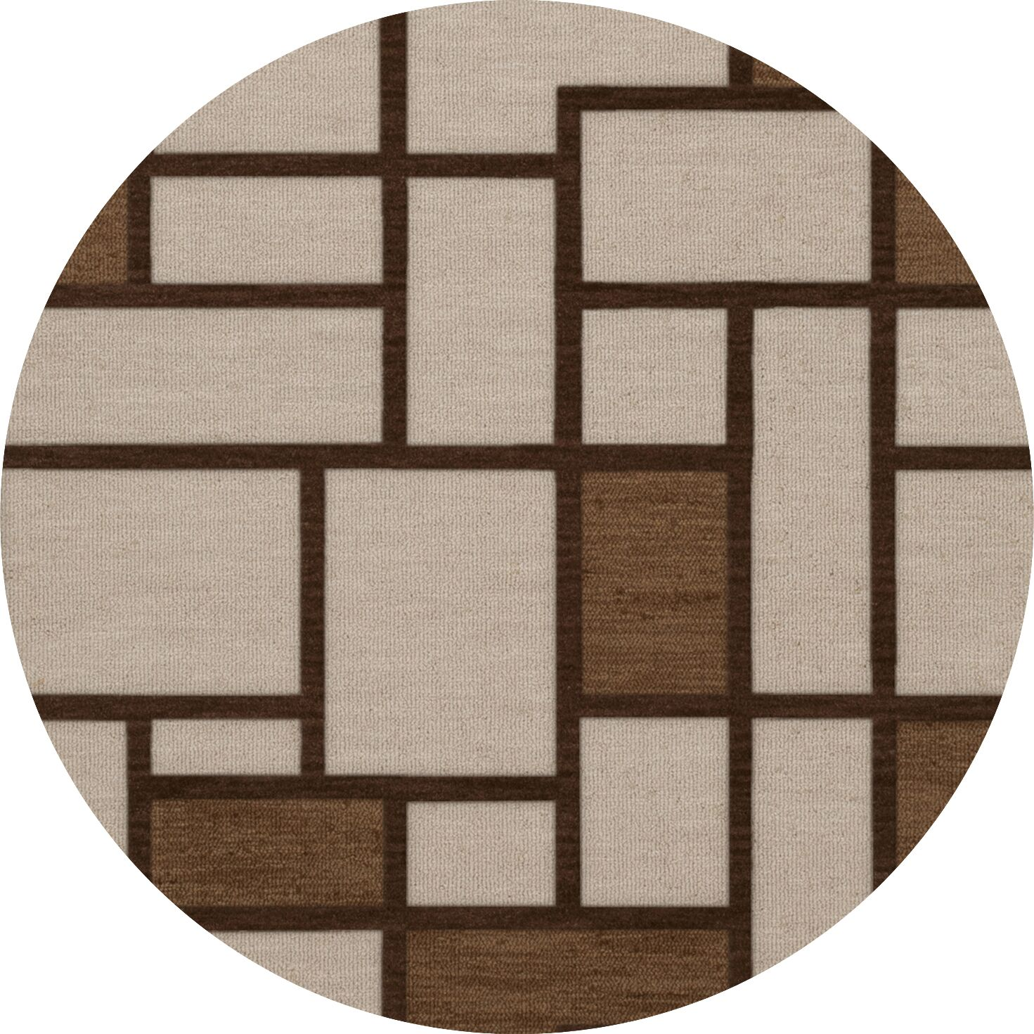 Halford Wool Earth Area Rug Rug Size: Round 8'