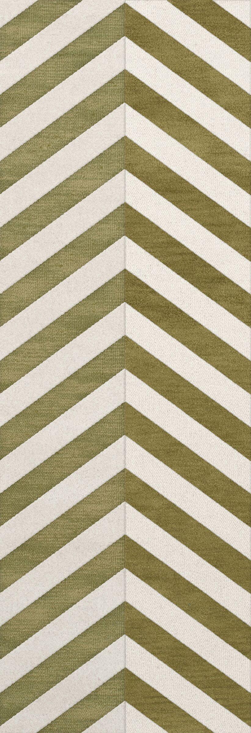 Shellenbarger Wool Herb/White Area Rug Rug Size: Runner 2'6