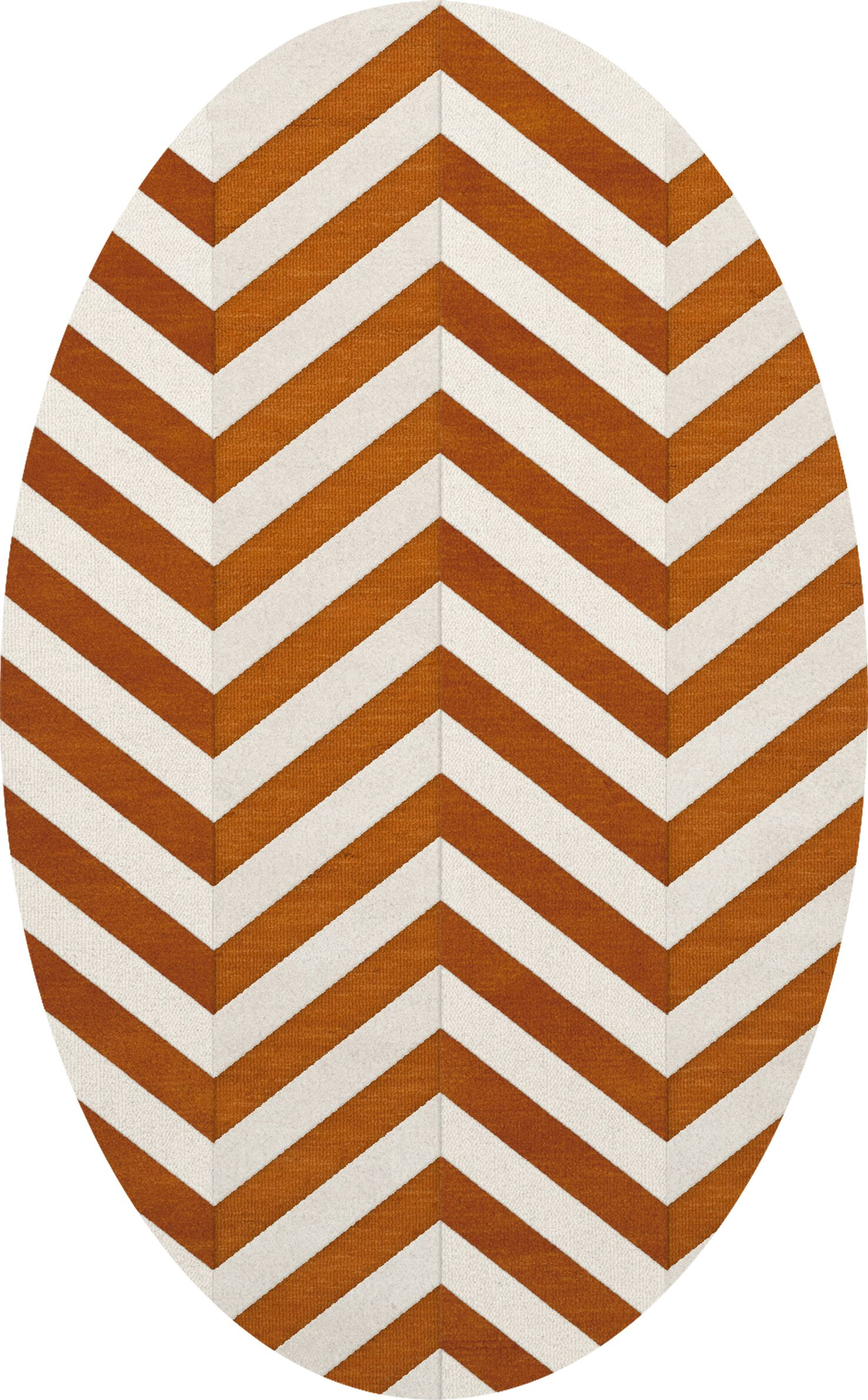 Shepler Wool Tangerine Area Rug Rug Size: Oval 3' x 5'