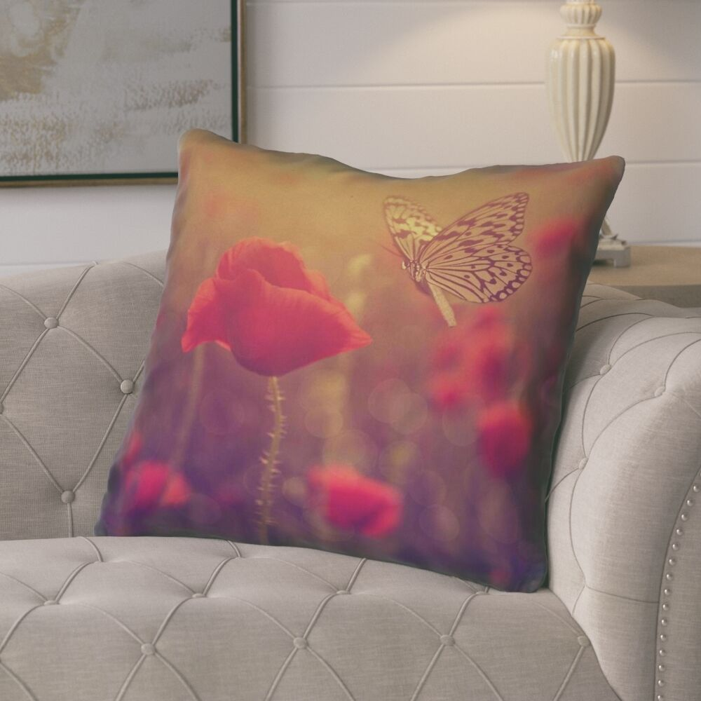 Mariani Butterfly and Rose Faux Leather Throw Pillow Size: 16