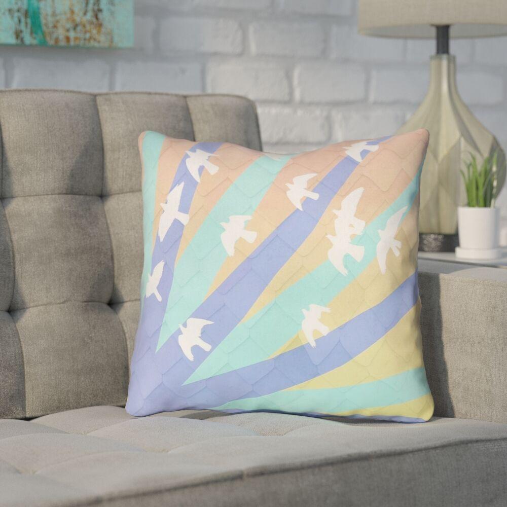 Enciso Birds and Sun 100% Cotton Throw Pillow Size: 14