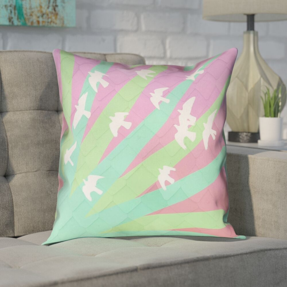 Enciso Birds and Sun Square 100% Cotton Pillow Cover Size: 18