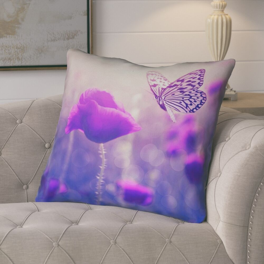 Mariani Butterfly and Rose 100% Cotton Euro Pillow Color: Purple