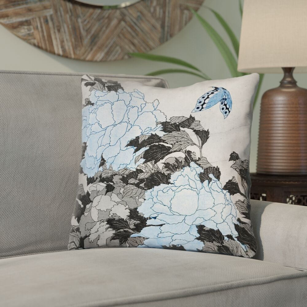 Clair Peonies and Butterfly Square Cotton Throw Pillow Size: 18