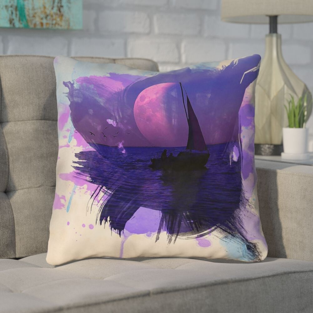 Houck Watercolor Moon and Sailboat Cotton Throw Pillow Size: 18