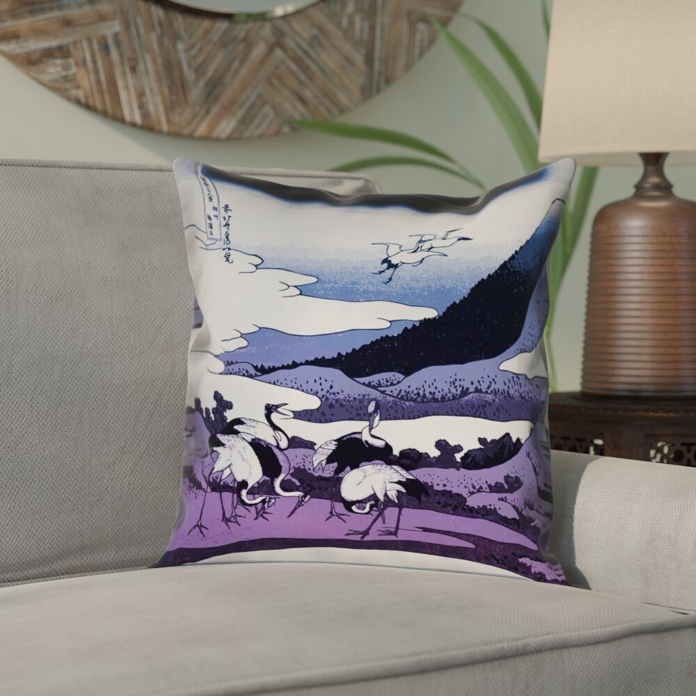 Montreal Japanese Cranes Suede Pillow Cover Size: 26