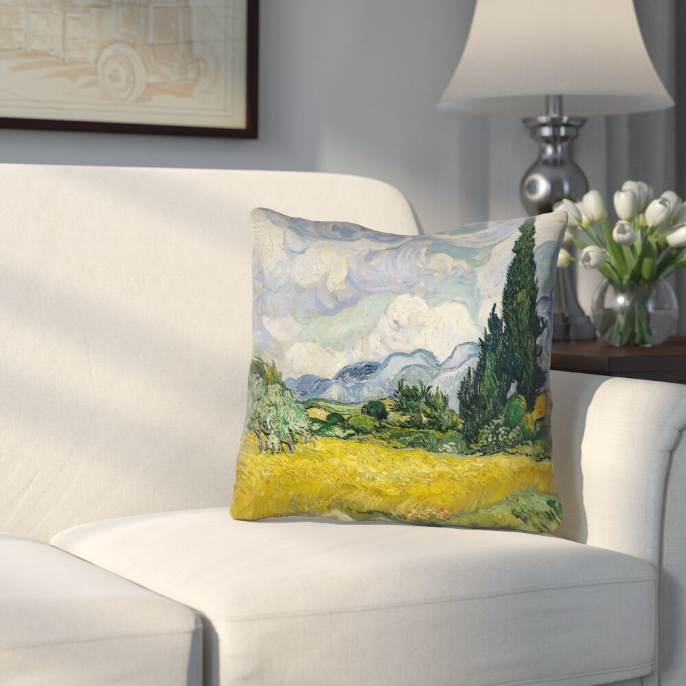 Woodlawn Wheatfield with Cypresses Square Outdoor Throw Pillow Size: 20