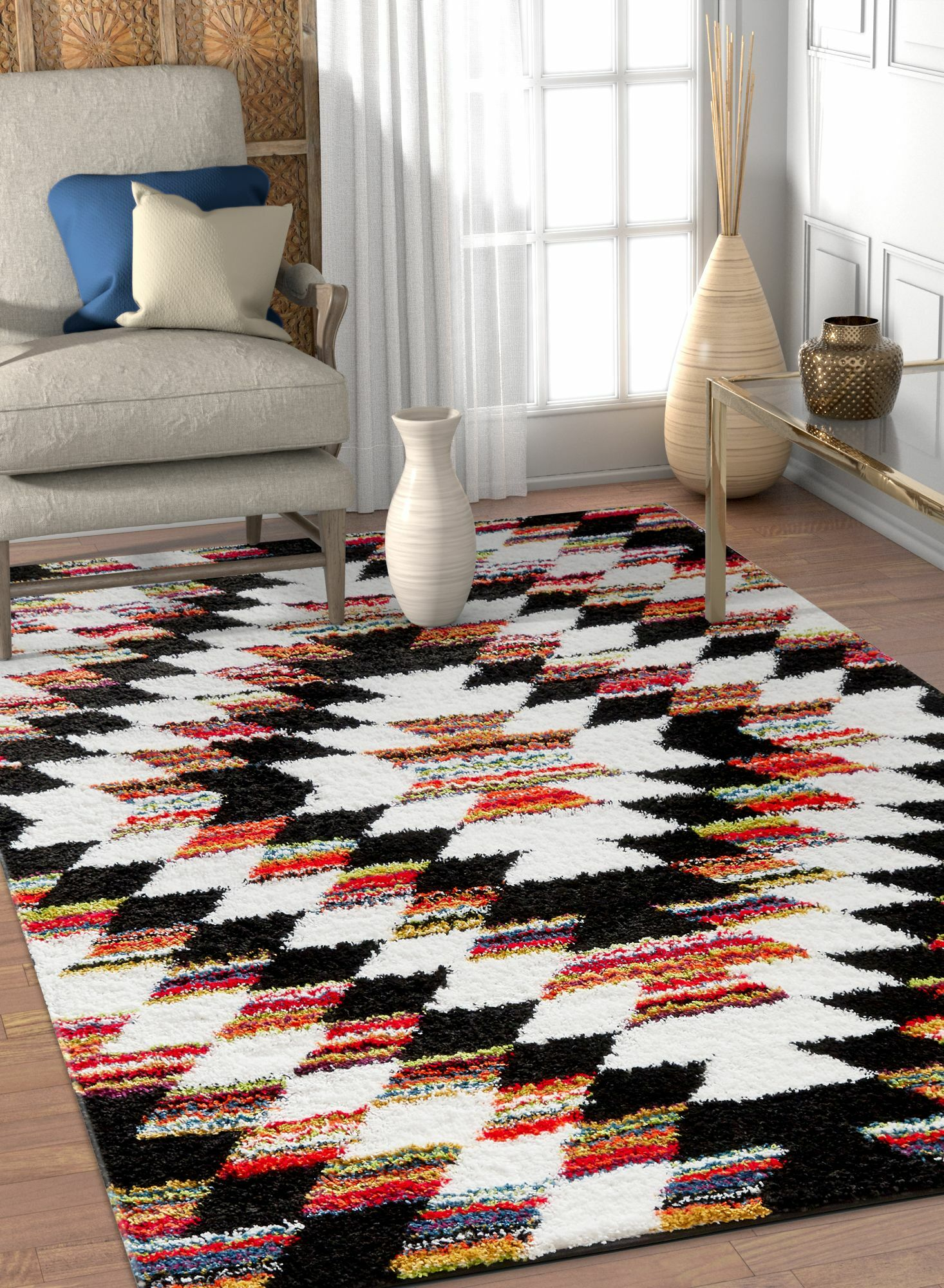 Namboodri Tangier Southwestern Black/Cream Area Rug Rug Size: Rectangle 7'10'' x 9'10''