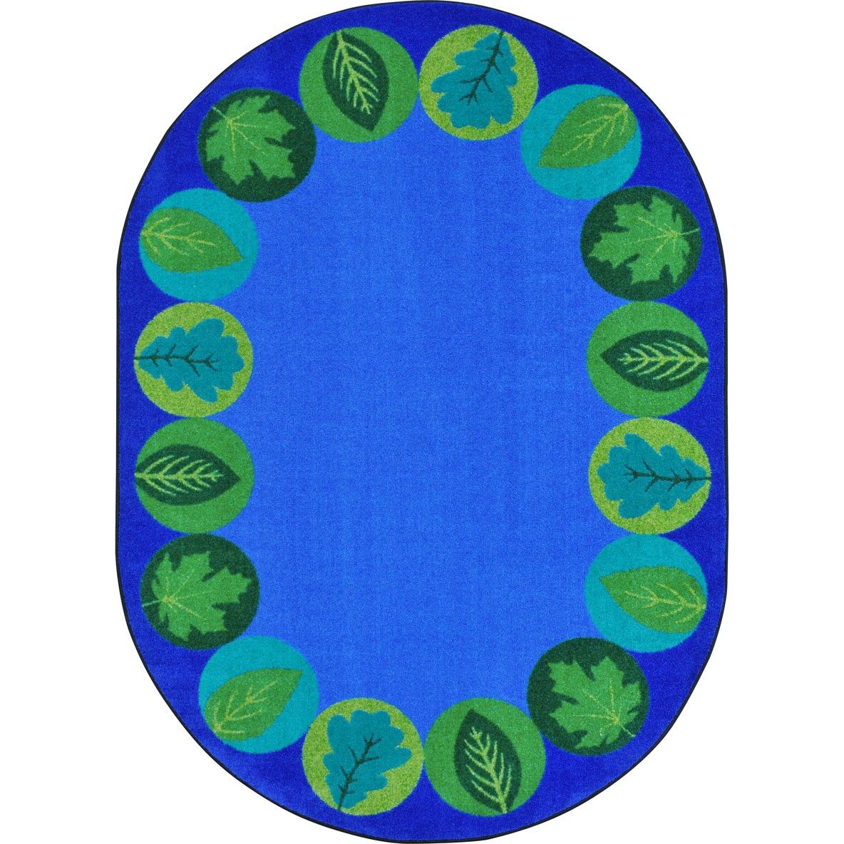 Almira Lively Leaves Blue Area Rug Rug Size: Oval 5'4