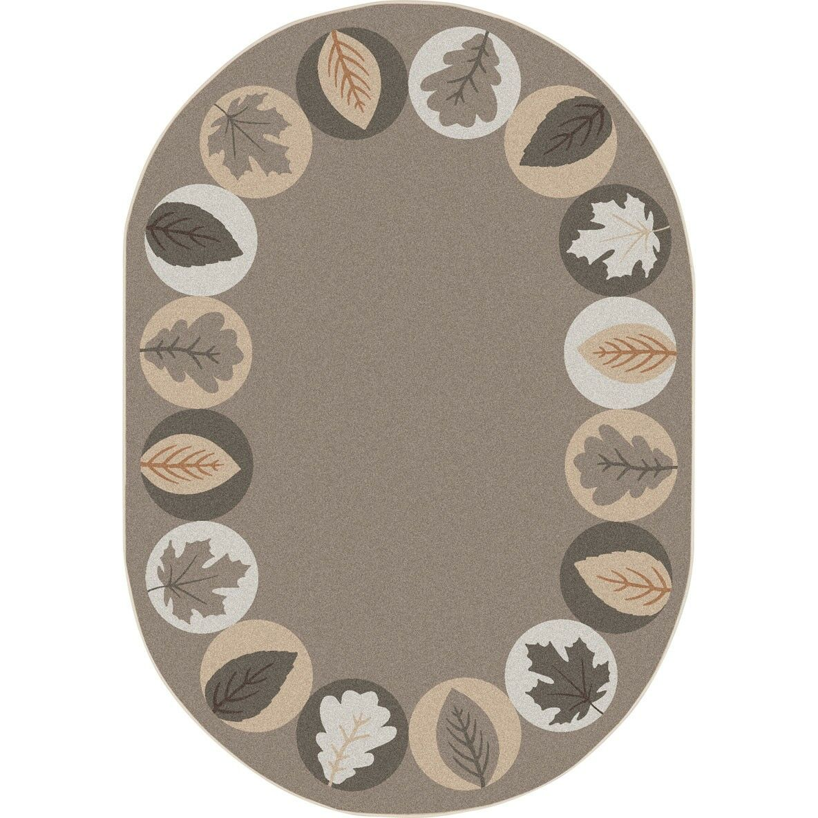 Almira Lively Leaves Brown Area Rug Rug Size: Oval 7'8