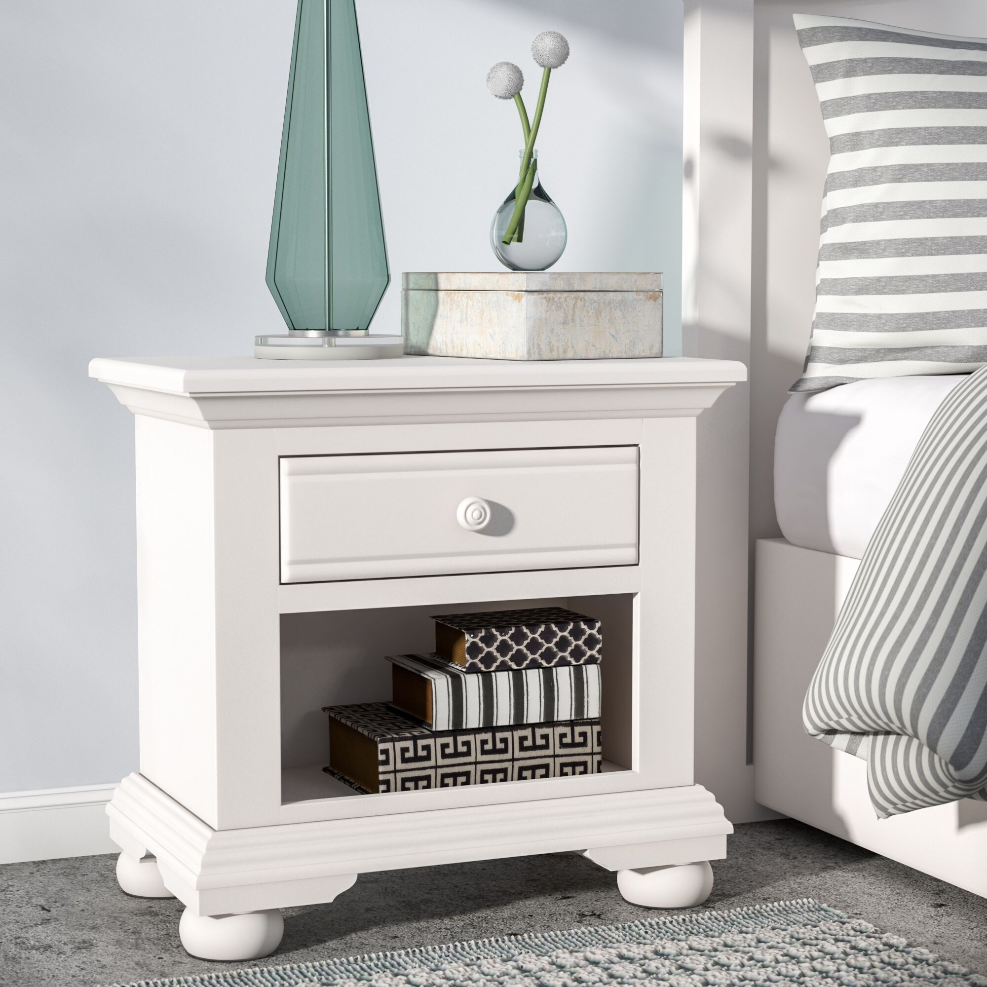 Montcerf 1 Drawer Nightstand Color: Distressed Eggshell White