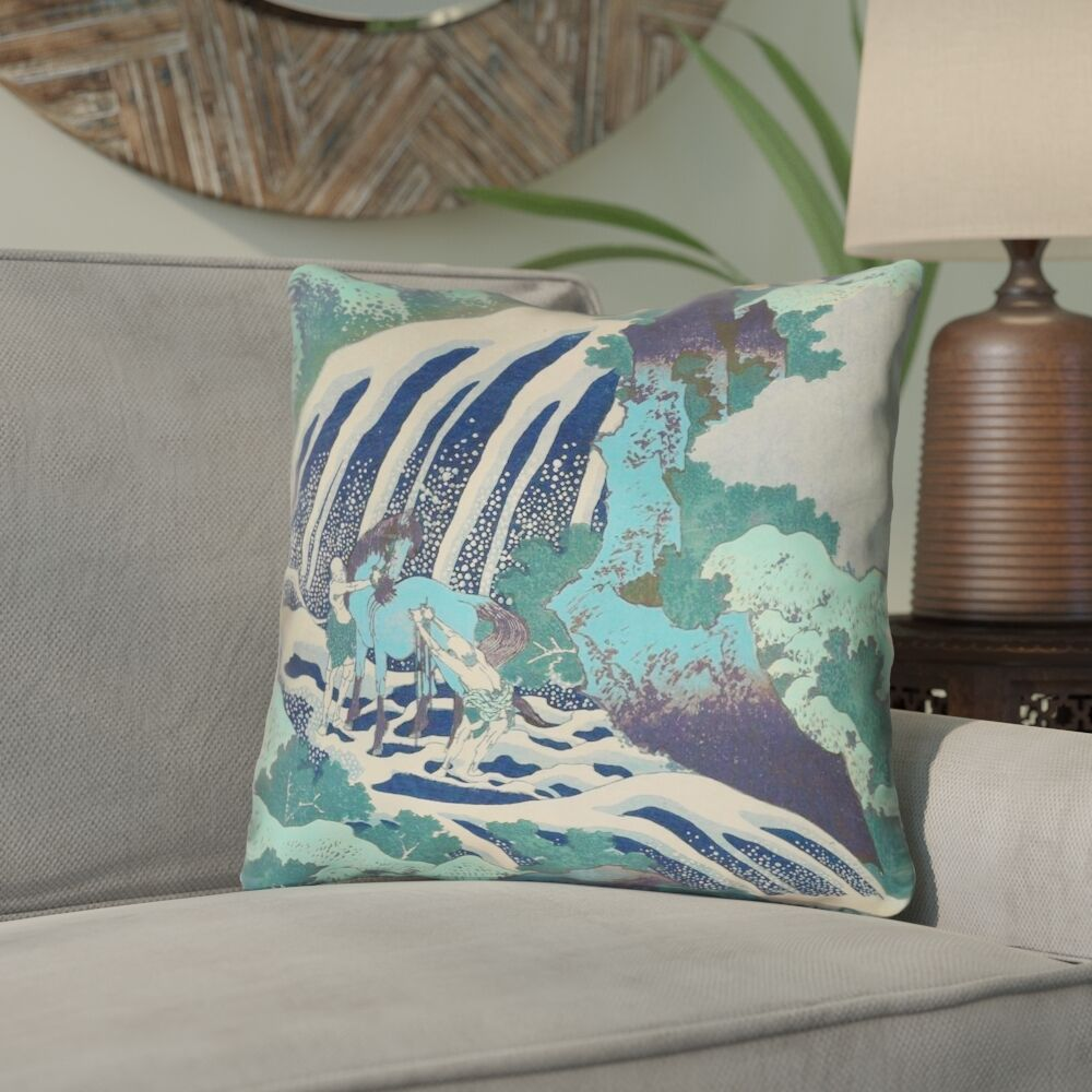Channelle Horse and Waterfall Double Sided Print Throw Pillow Size: 20