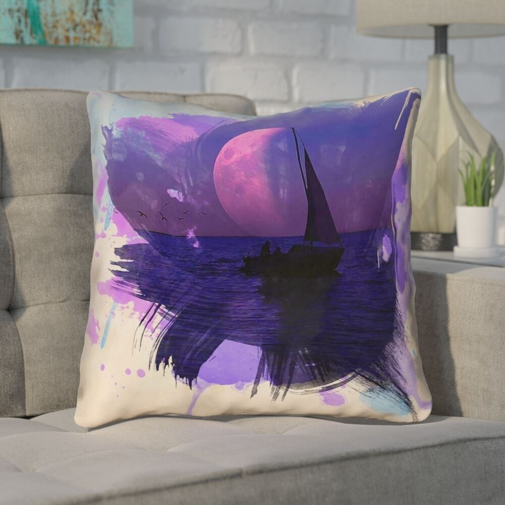 Houck Watercolor Moon and Sailboat Leather/Suede Throw Pillow Size: 20