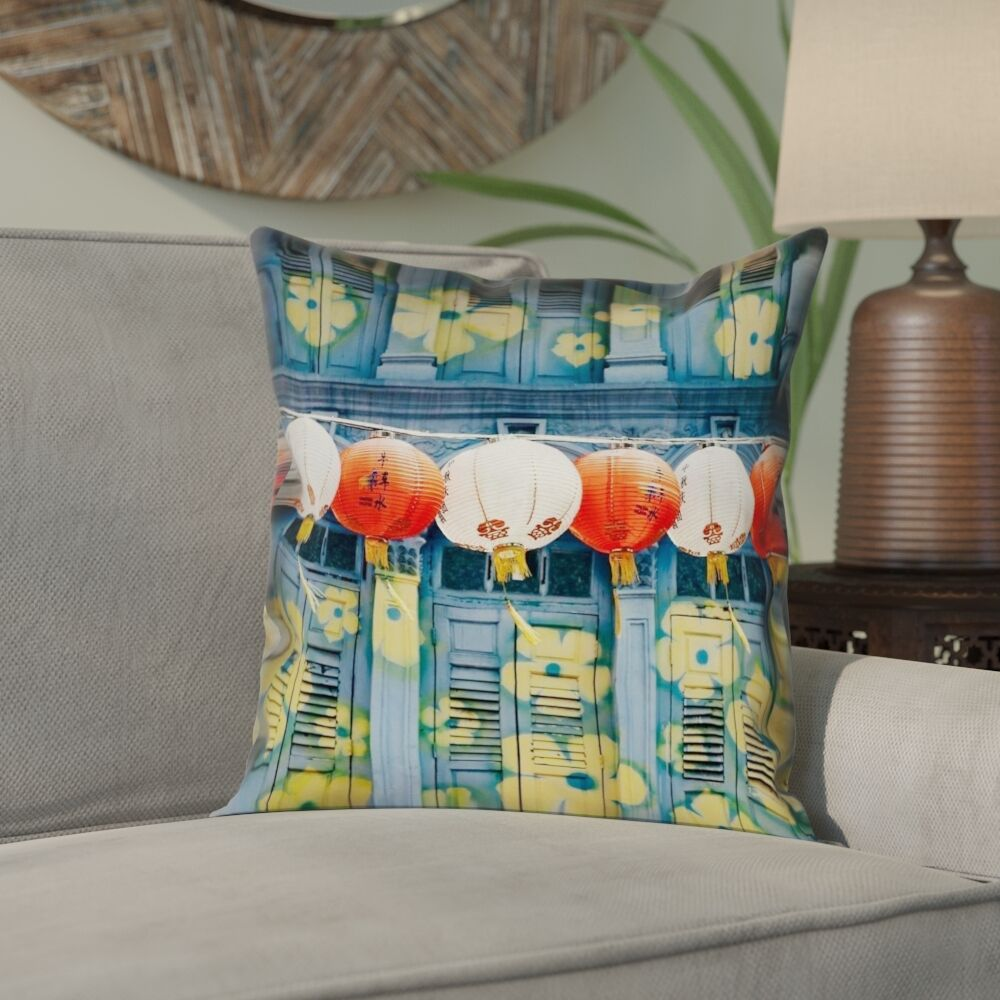 Akini Double Sided Print Lanterns in Singapore Pillow Cover Size: 18