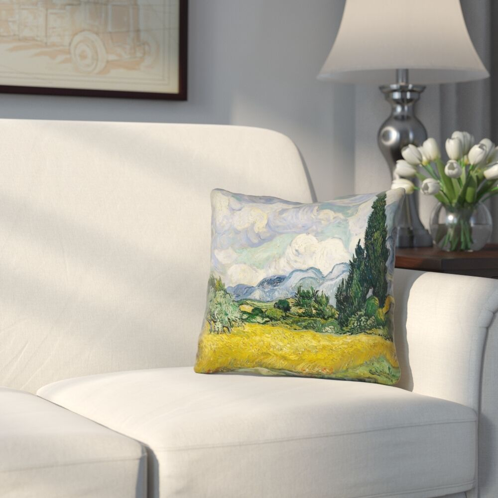 Woodlawn Wheatfield with Cypresses Square Linen Pillow Cover Size: 18