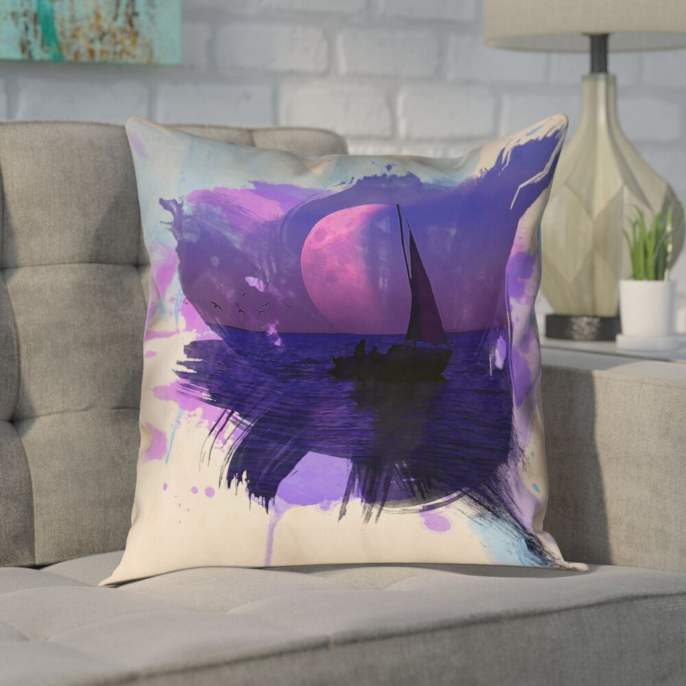 Houck Watercolor Moon and Sailboat Square Cotton Pillow Cover Size: 18