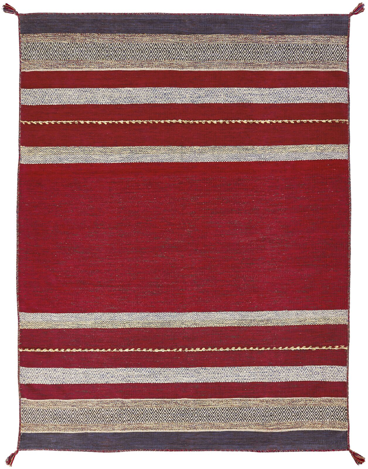 Gueye Hand Knotted Cotton Red Area Rug Rug Size: Rectangle 5'6