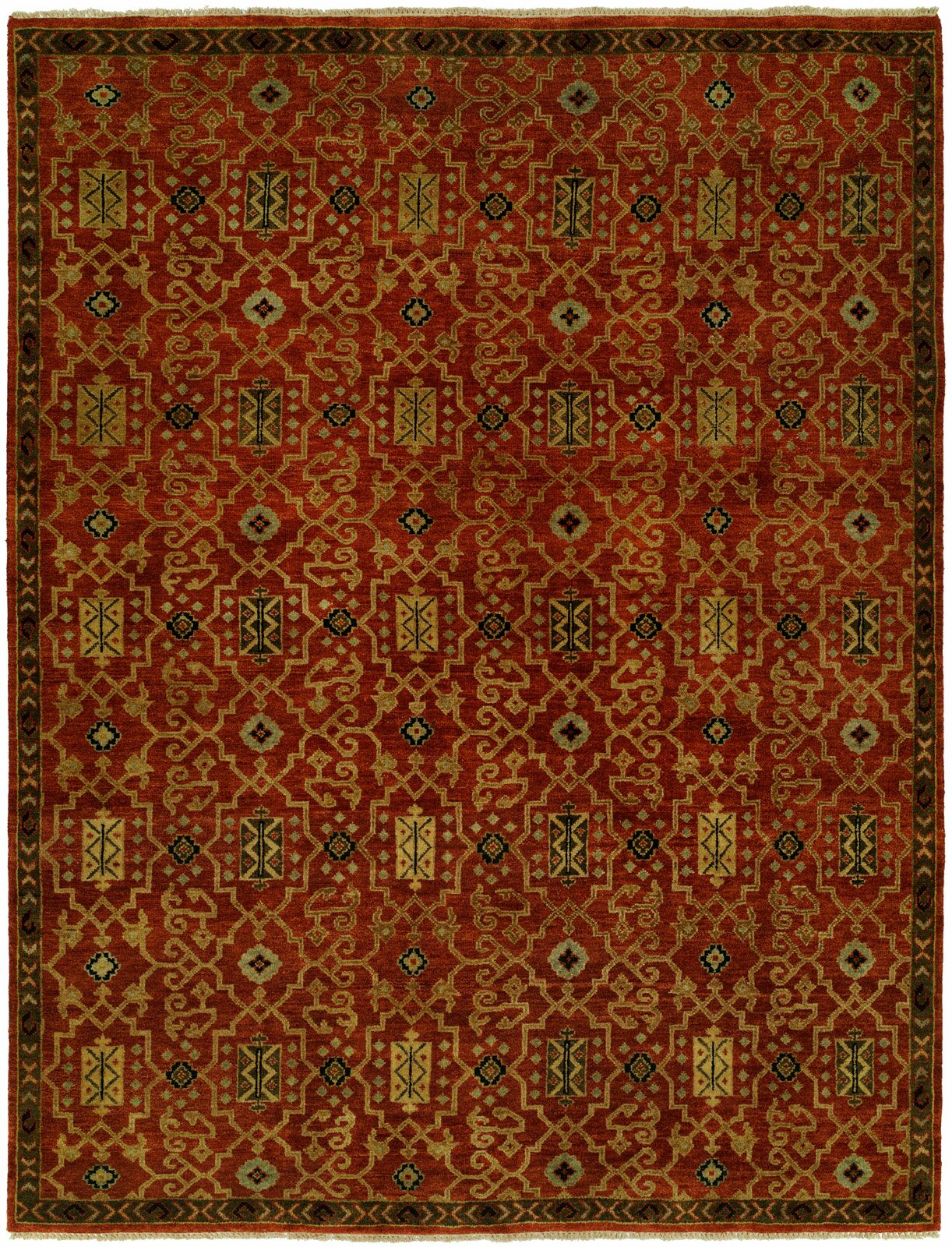 Gunnel Hand Knotted Wool Rust Area Rug Rug Size: Rectangle 3' x 5'