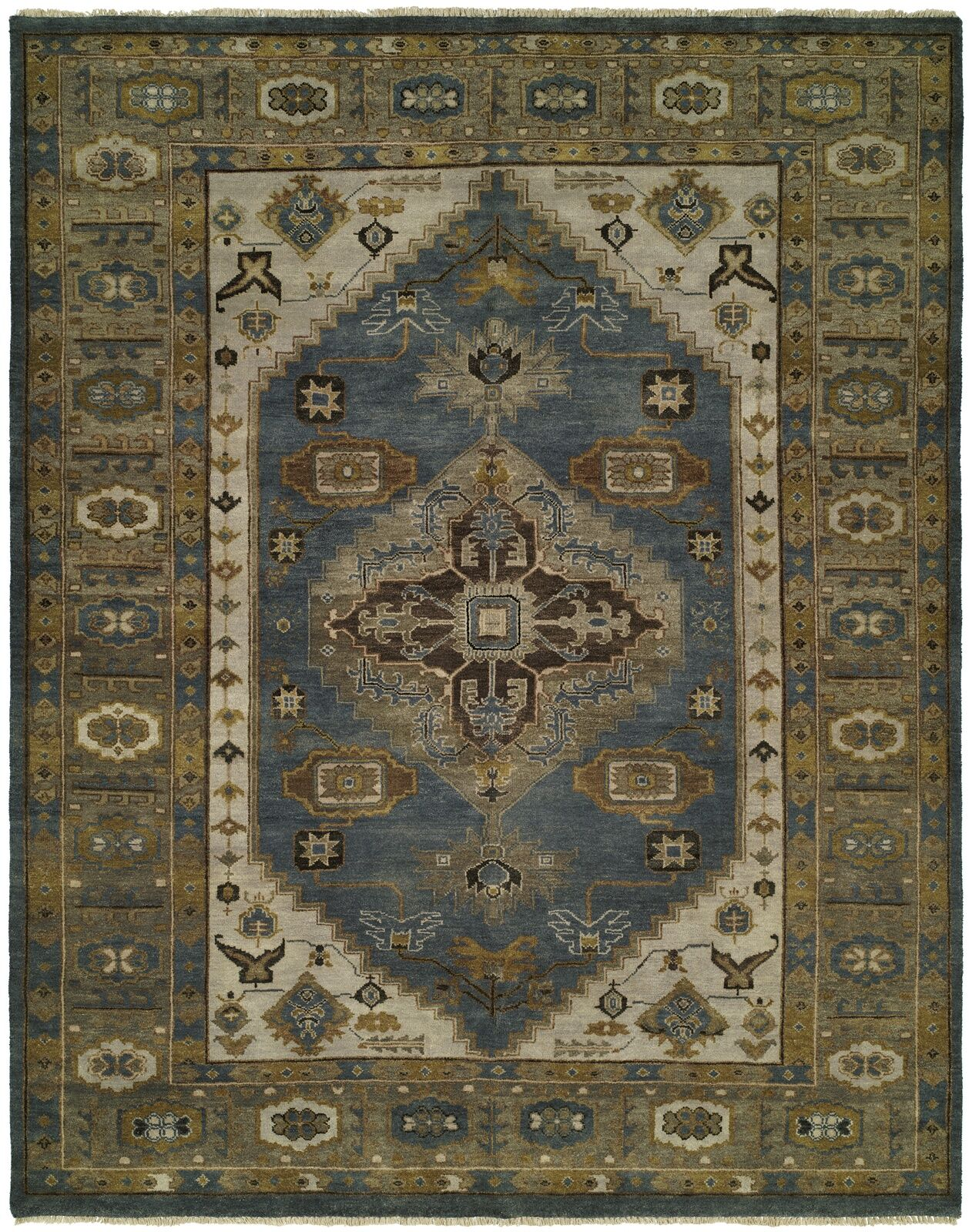 Mccarville Hand Knotted Wool Blue/Olive Area Rug Rug Size: Rectangle 4' x 6'