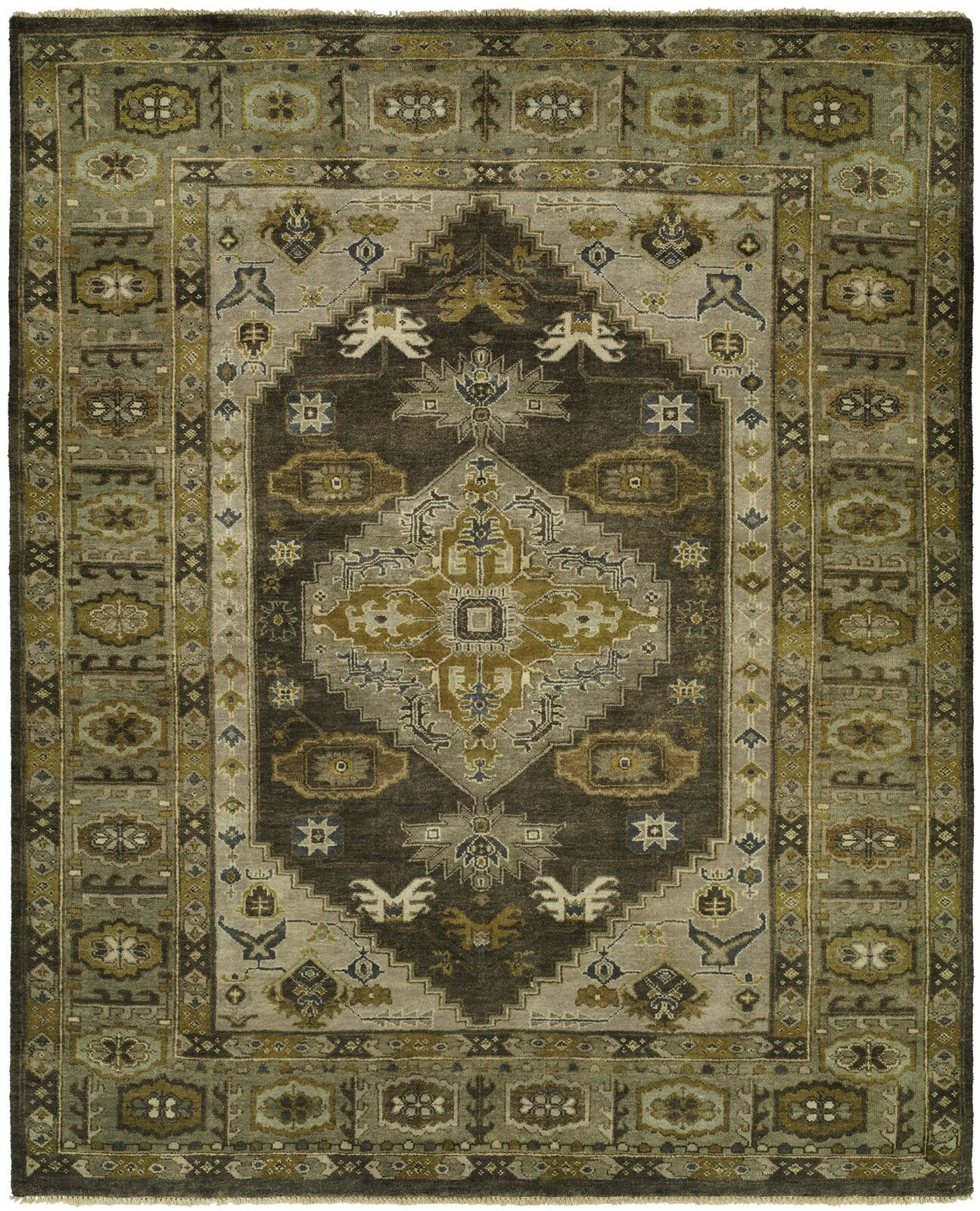 McCandlish Hand Knotted Wool Gray/Olive Area Rug Rug Size: Rectangle 3' x 5'