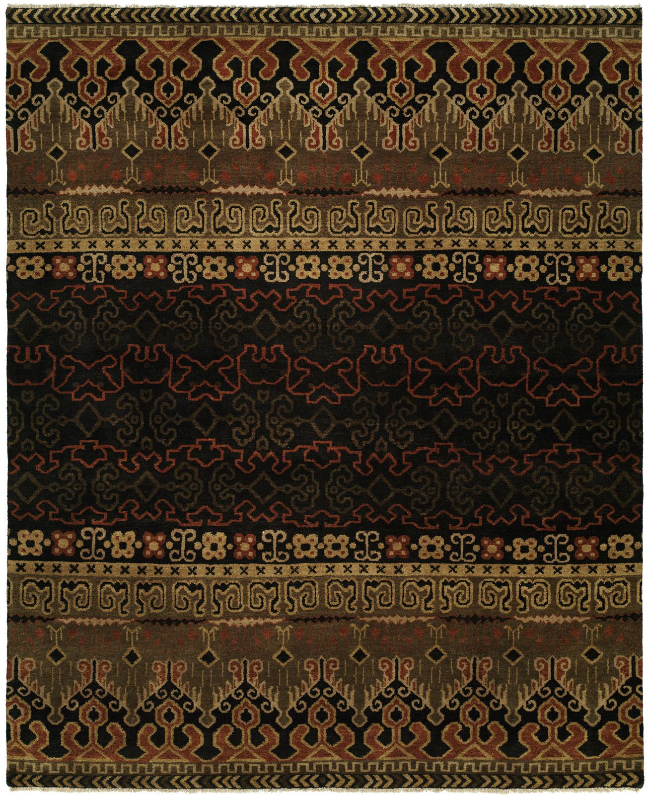 Gofried Hand Knotted Wool Black Area Rug Rug Size: Rectangle 2' x 3'