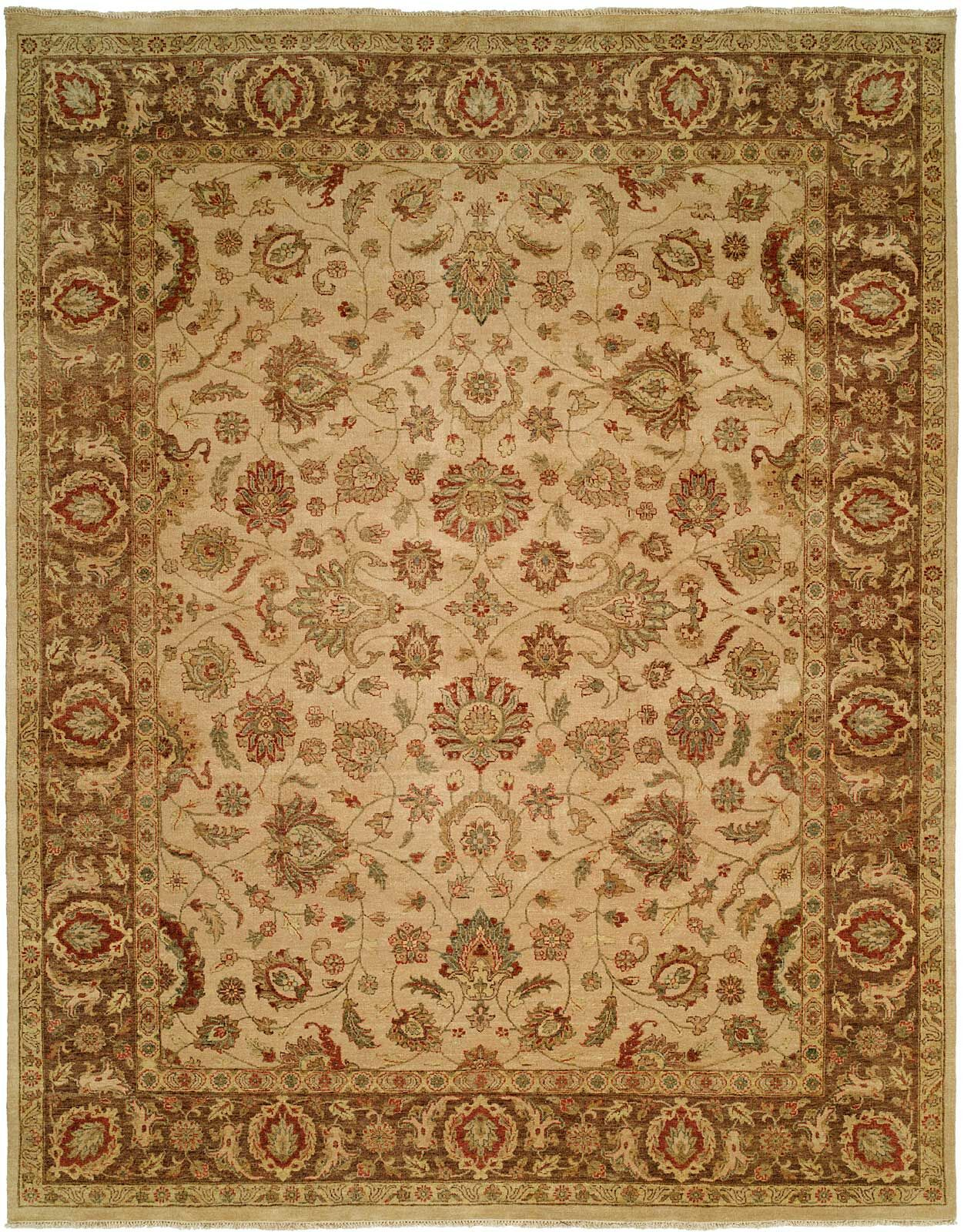 Mcgarity Hand Knotted Wool Ivory/Brown Area Rug Rug Size: Rectangle 2' x 3'
