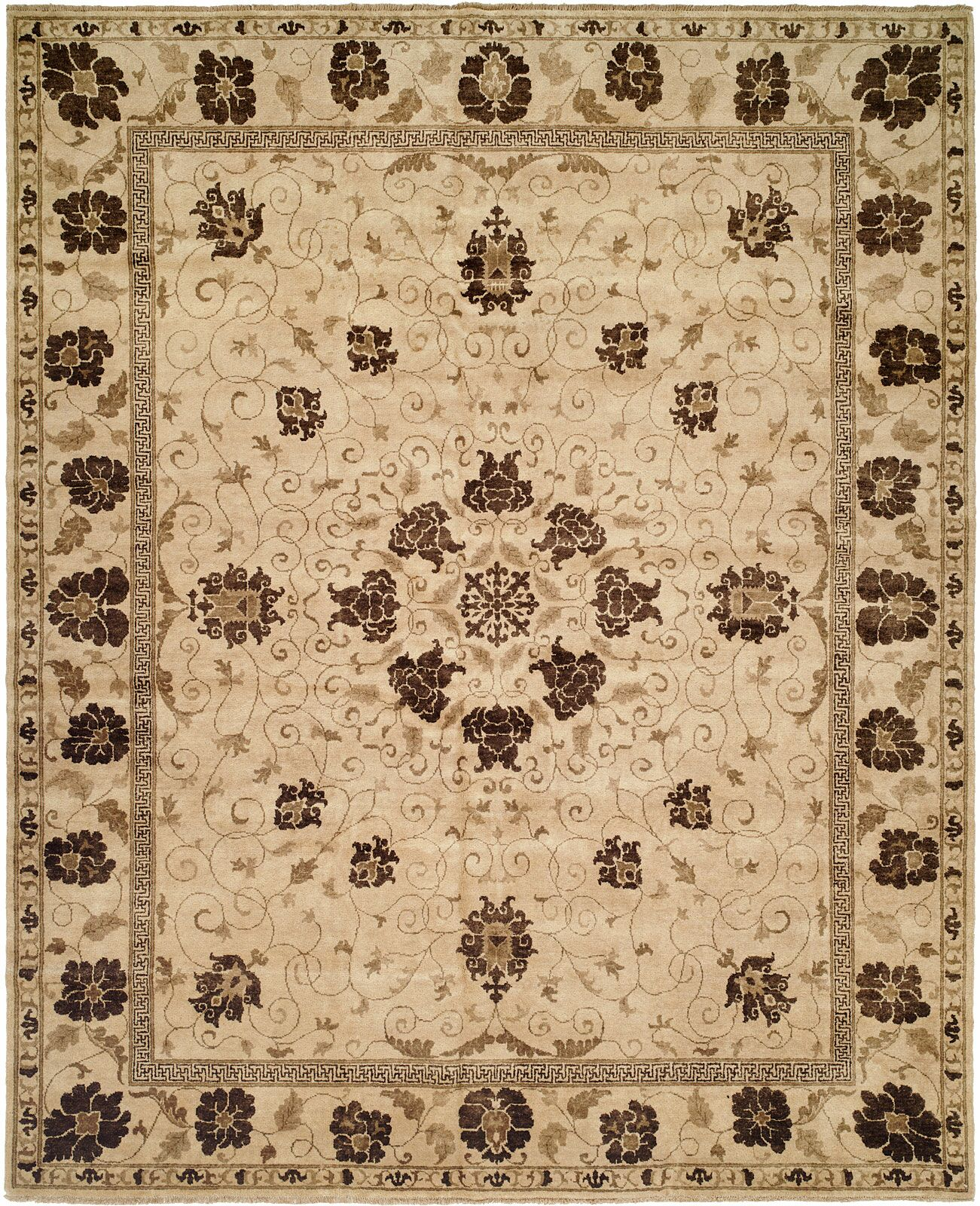 Hensley Hand Knotted Wool Brown/Ivory Area Rug Rug Size: Rectangle 12' x 15'