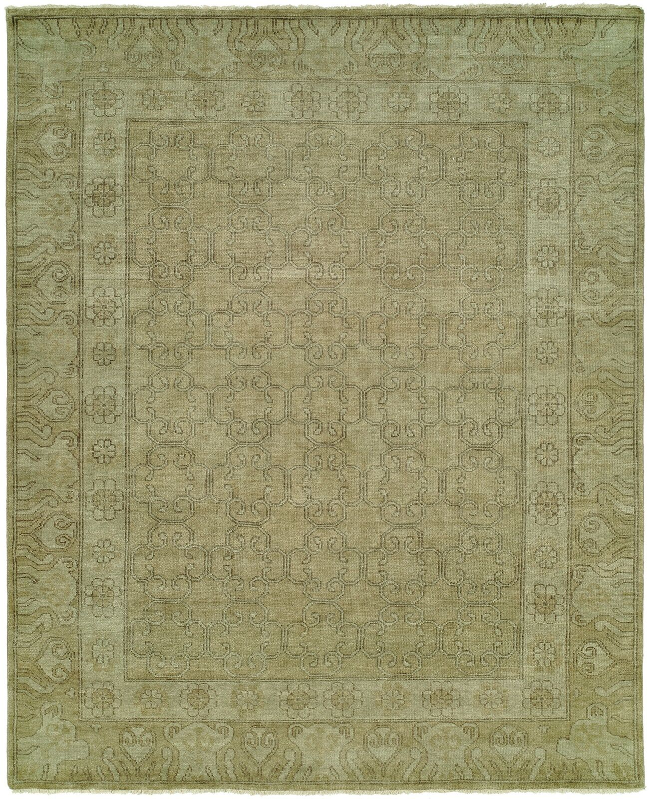Maxwell Hand Knotted Wool Olive Area Rug Rug Size: Rectangle 6' x 9'