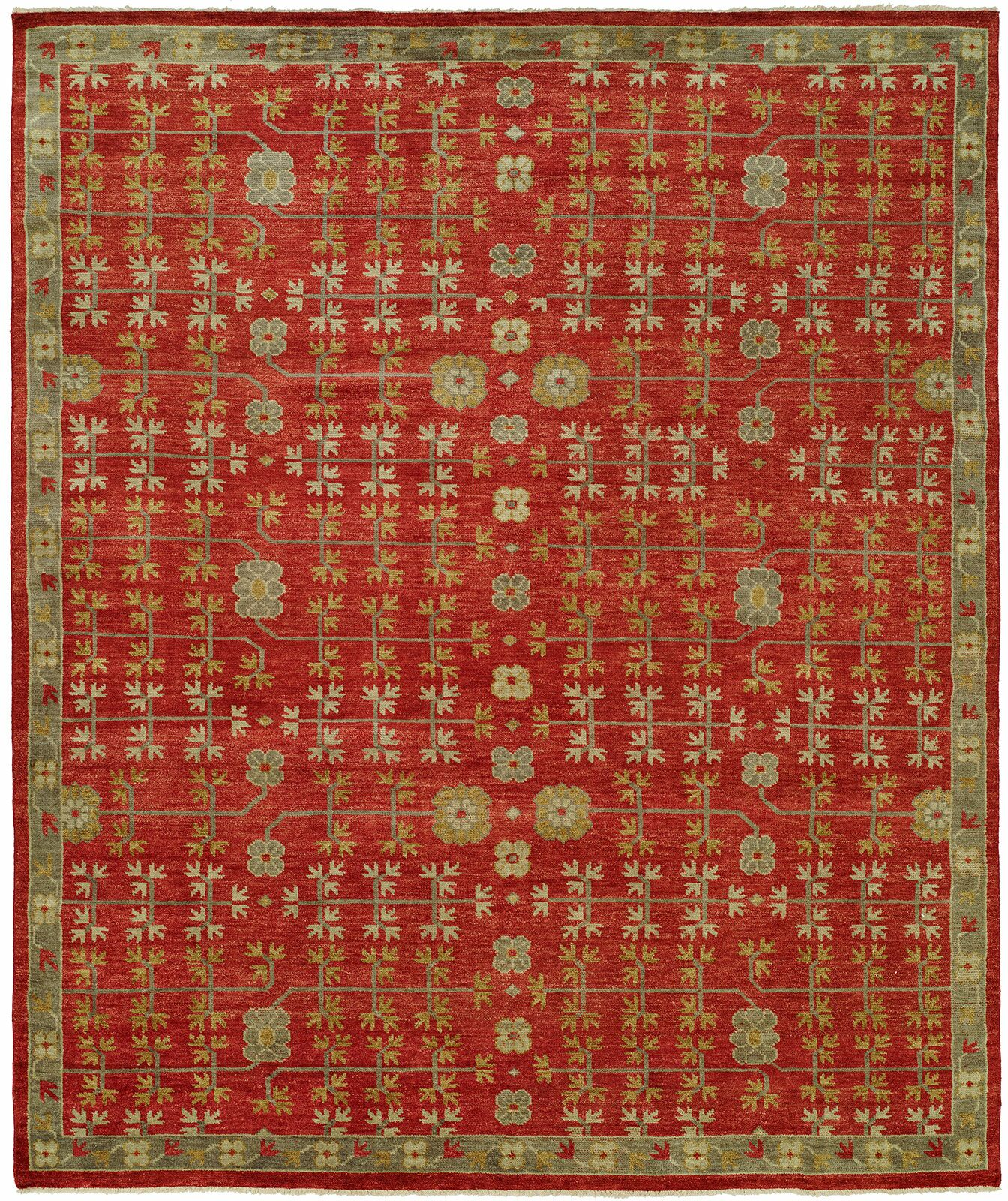 Ha Hand Knotted Wool Red Area Rug Rug Size: Rectangle 2' x 3'
