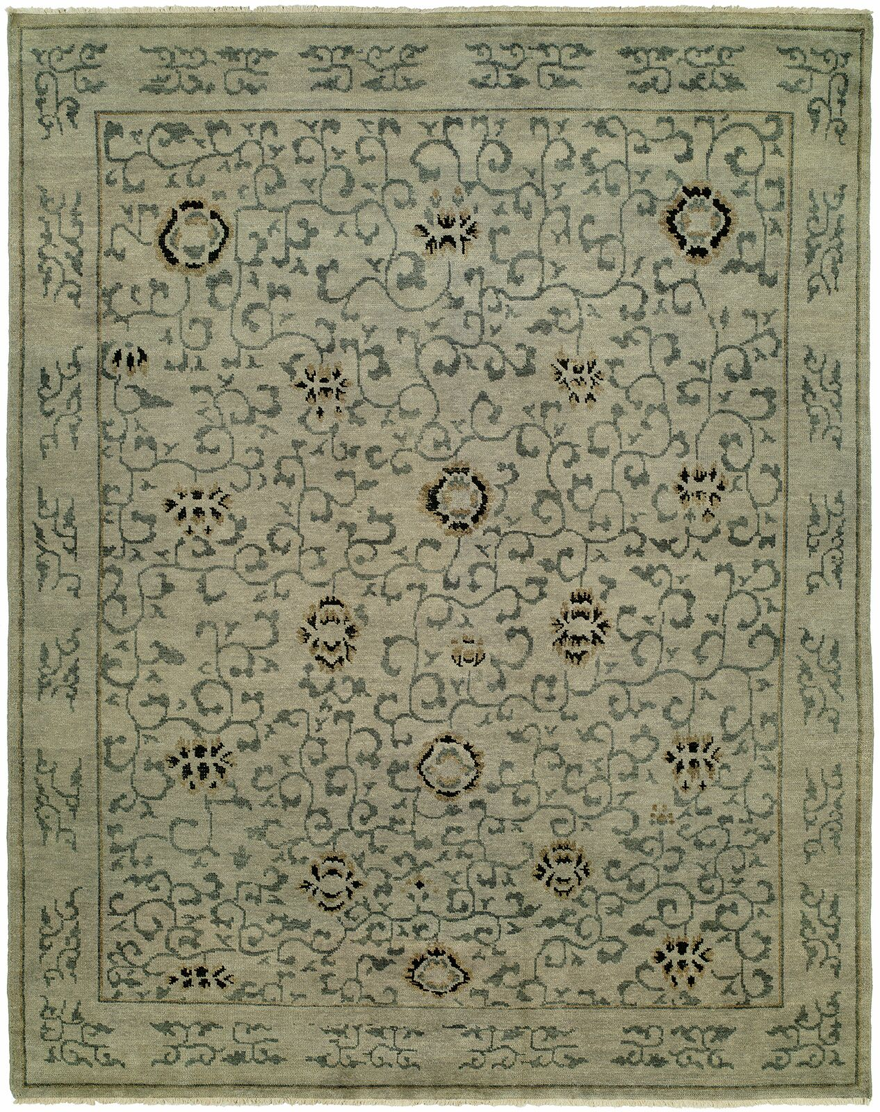 Evalyn Hand-Knotted Wool Beige Area Rug Rug Size: Rectangle 12' x 15'