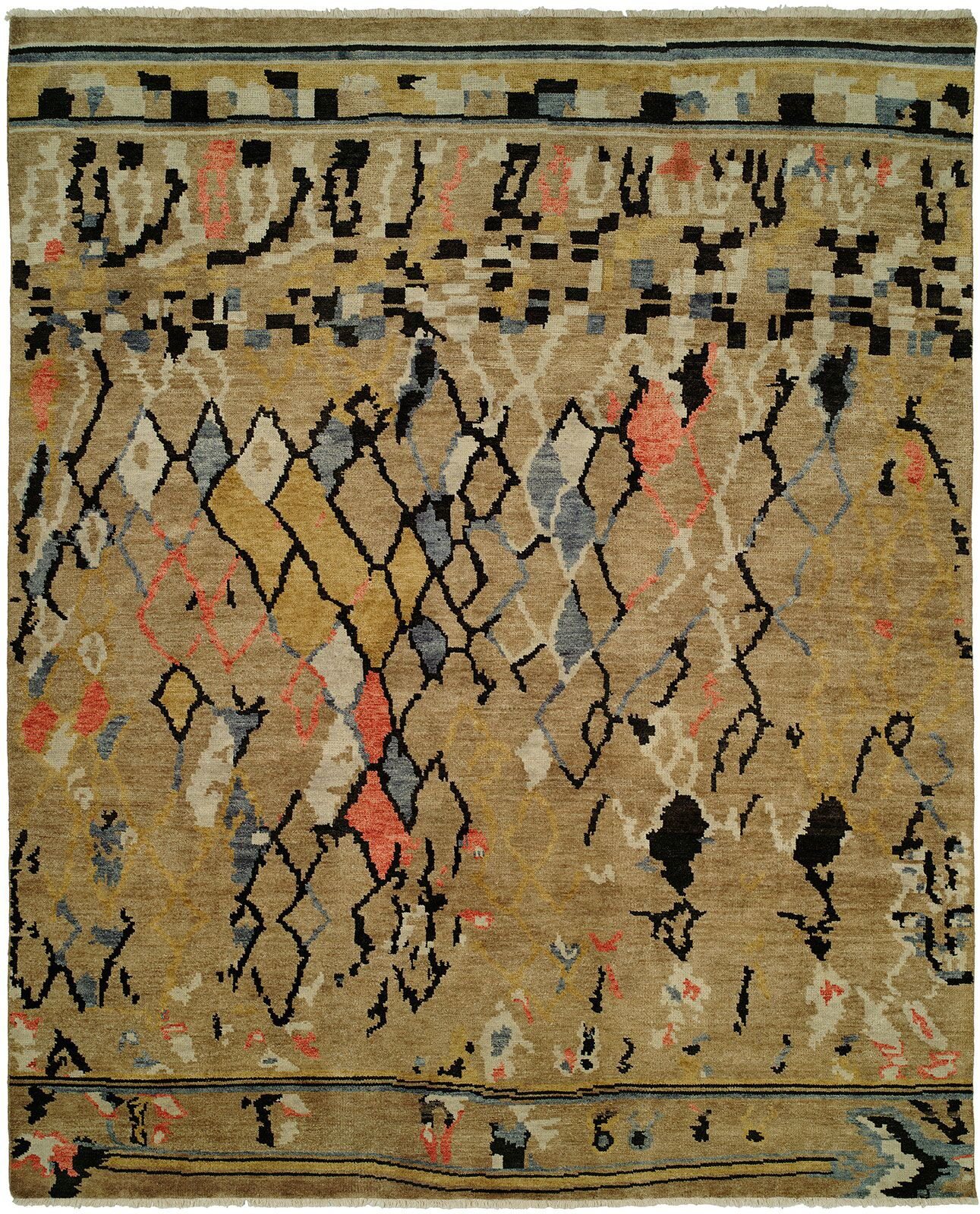 Hug Hand Knotted Wool Gold Area Rug Rug Size: Rectangle 6' x 9'