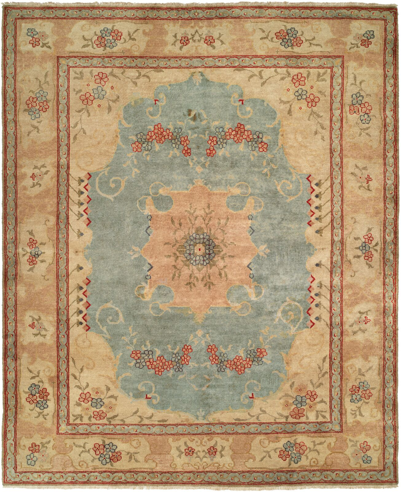 McGovern Hand Knotted Wool Blue/Ivory Area Rug Rug Size: Runner 2'6