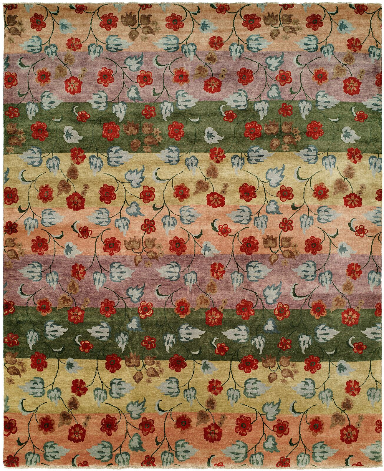 Capri Stripe Hand-Knotted Wool Red/Green Area Rug Rug Size: Runner 2'6