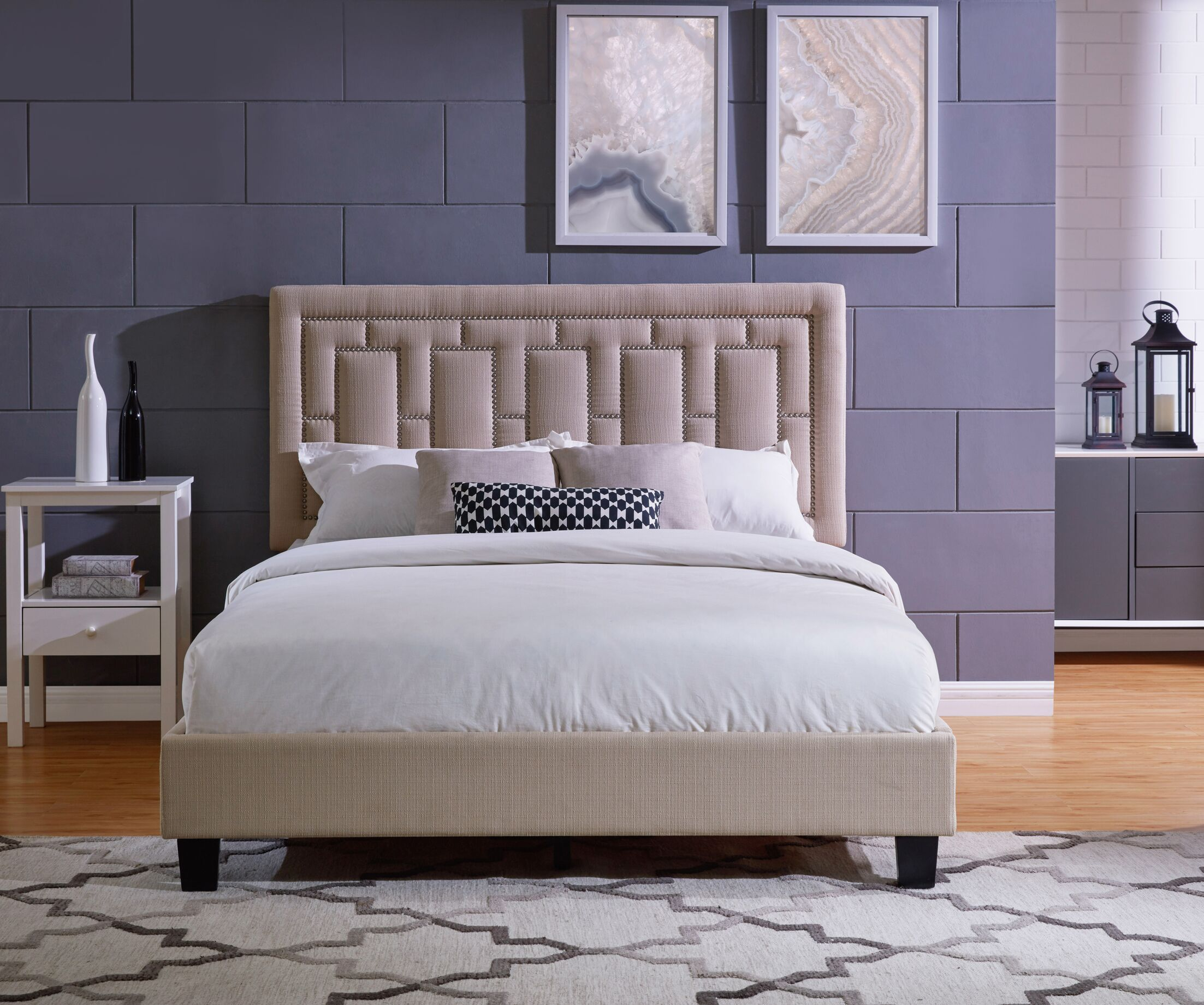 Lefferts Queen Upholstered Panel Bed Color: Taupe