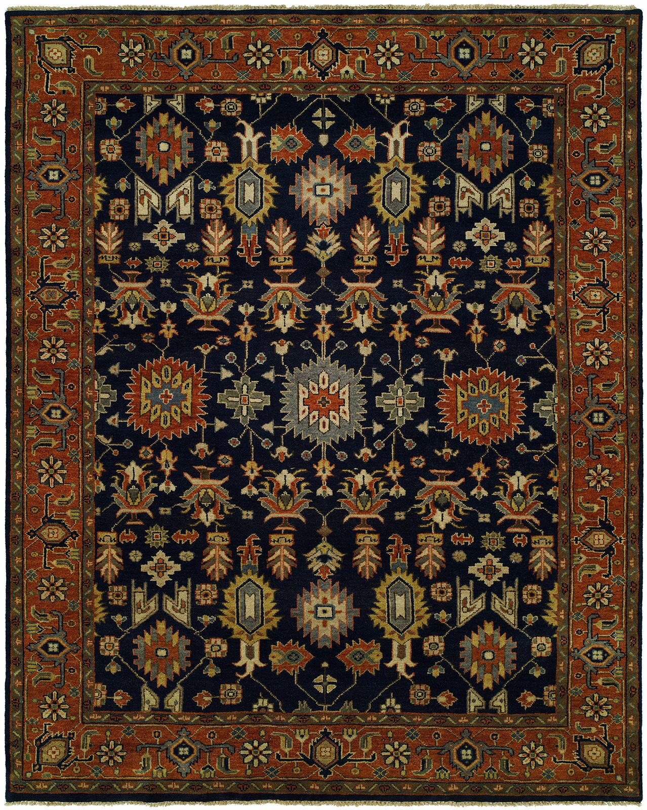 Dhairya Hand Knotted Wool Navy/Rust Area Rug Rug Size: Rectangle 8' x 10'