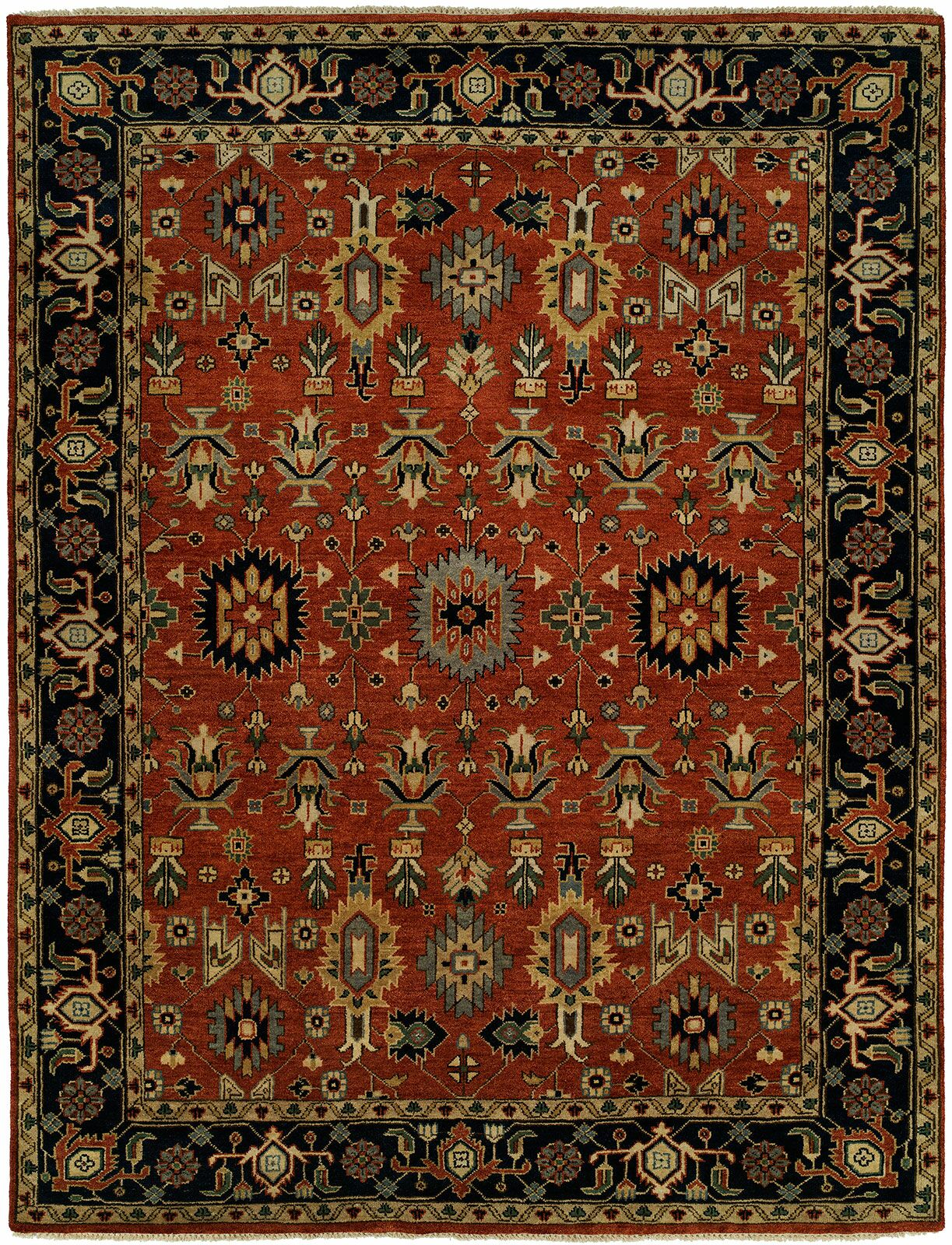 Doreen Hand Knotted Wool Rust/Black Area Rug Rug Size: Rectangle 8' x 10'